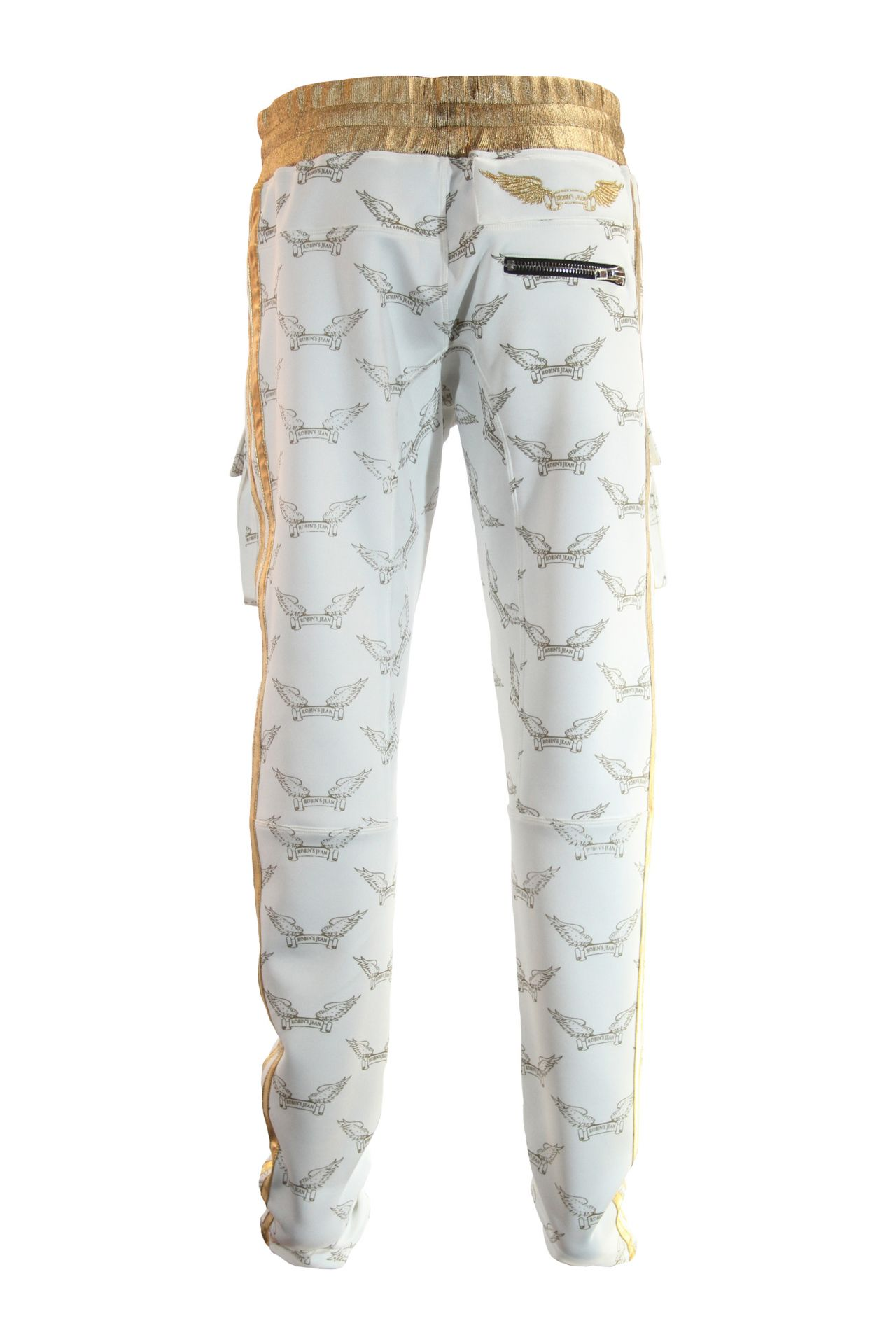 ROBIN'S MONOGRAM JOGGER IN WHITE AND GOLD