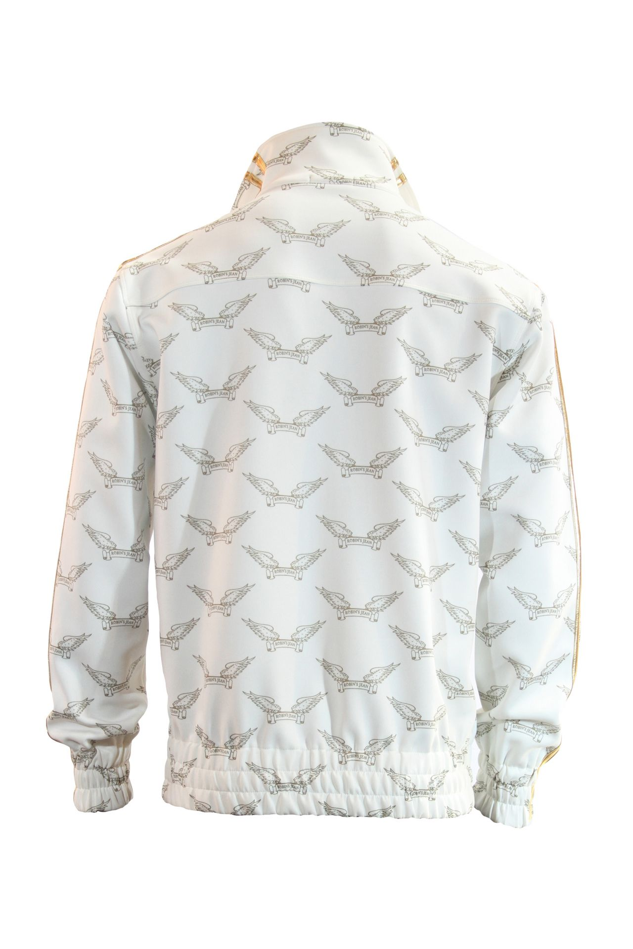 ROBIN'S  MONOGRAM TRACK JACKET IN WHITE AND GOLD