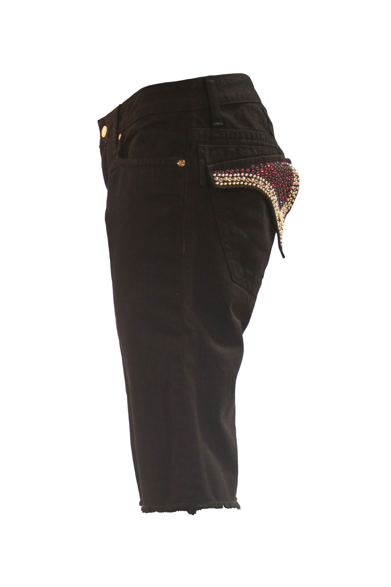 LONG FLAP RAW EDGE SHORTS IN PURE BLACK WITH GOLD AND RED SW