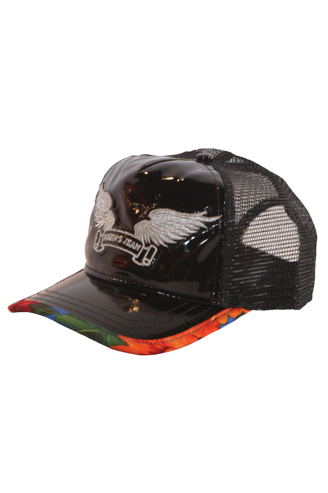 PATENT CAP WITH LILY IN BLACK