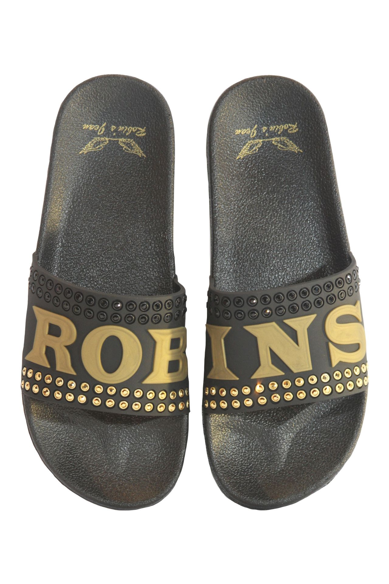 ROBIN SLIDES WITH BLACK AND GOLD CRYSTALS