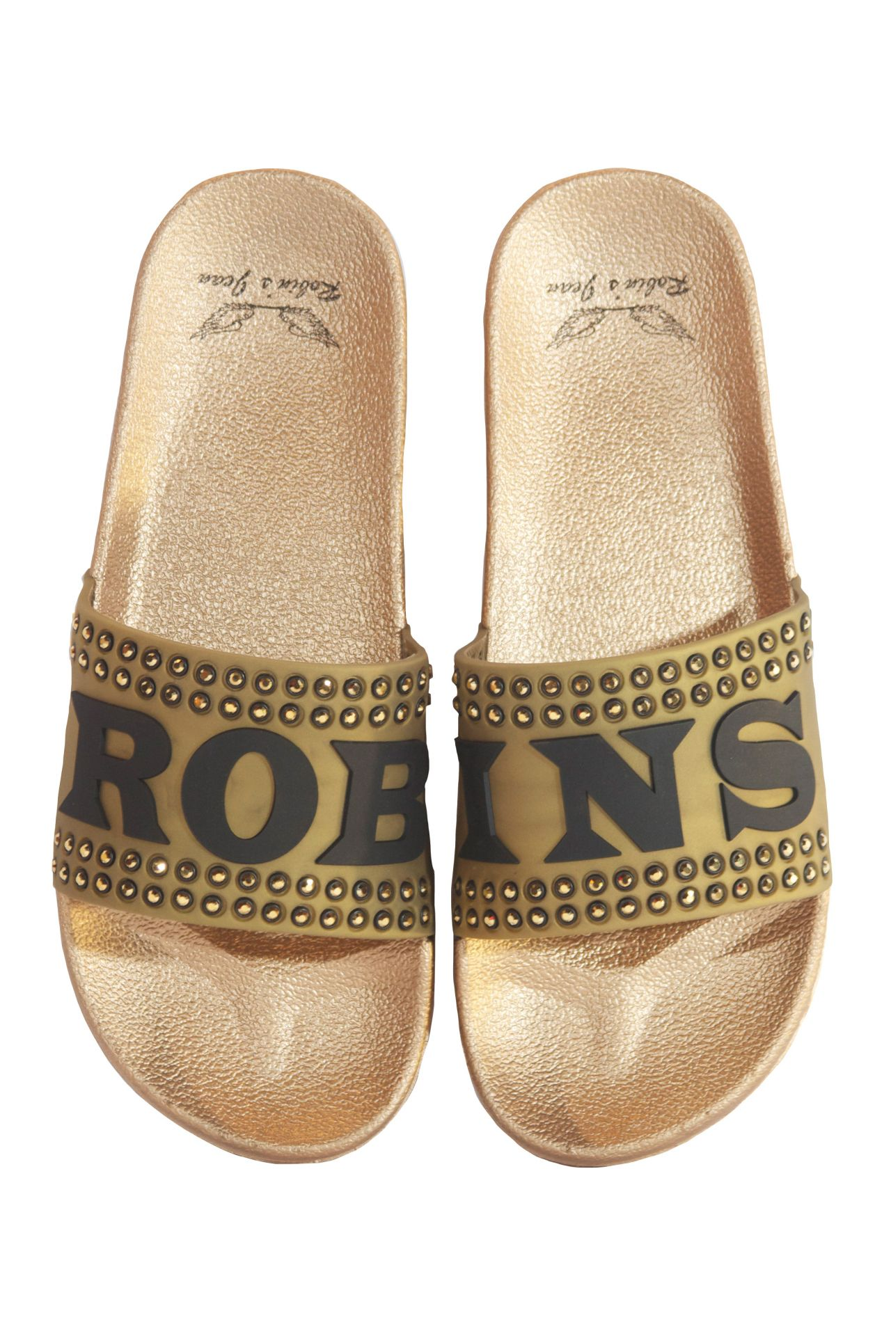ROBIN SLIDES IN GOLD WITH GOLD CRYSTALS