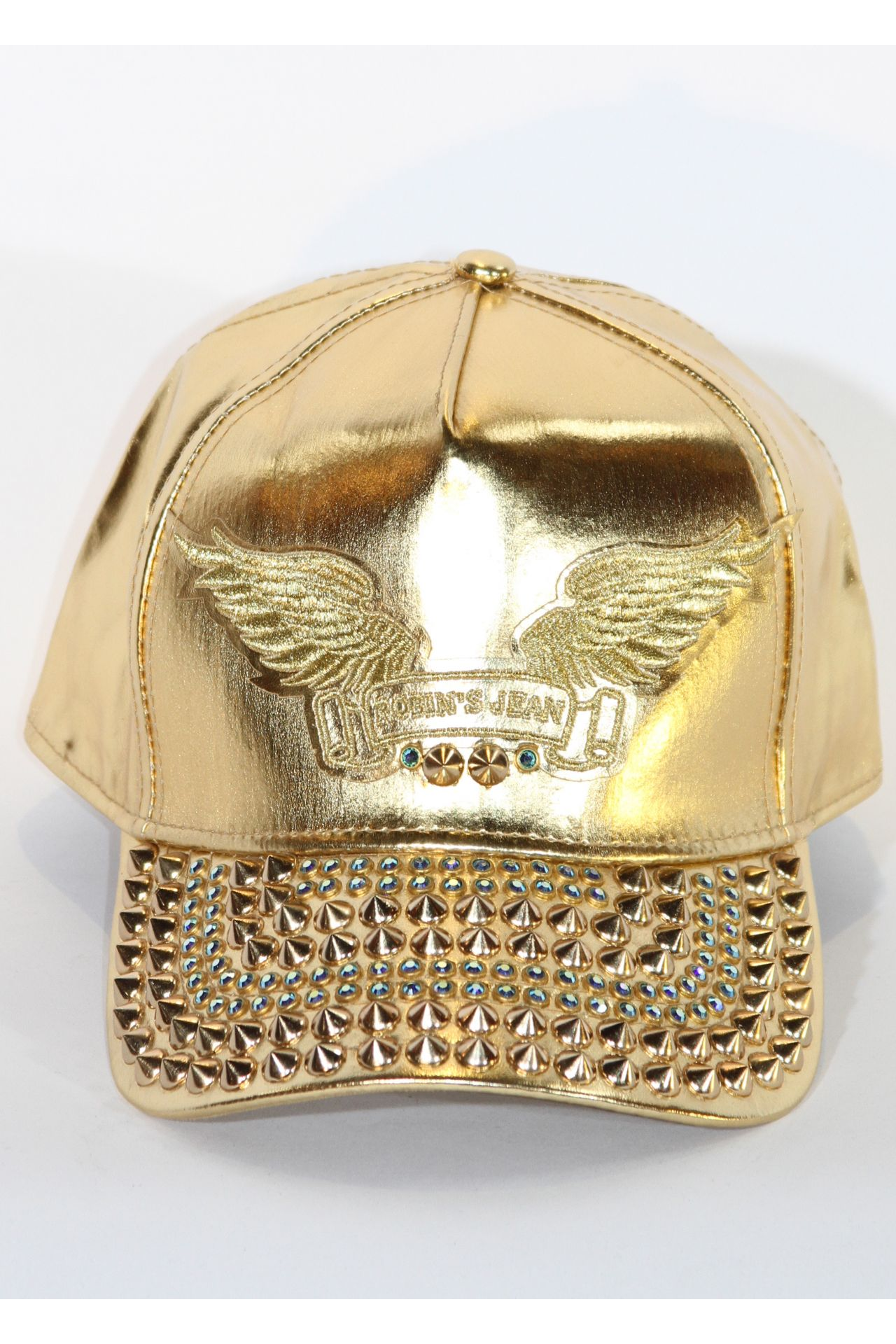 GOLD CAP WITH SAPPHIRE AND GOLD SPIKES