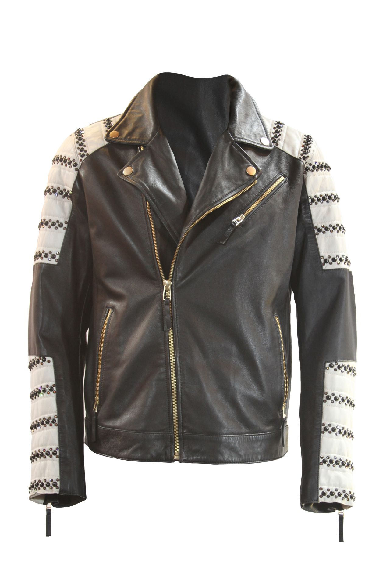 STUDDED LEATHER JACKET IN BLACK AND WHITE