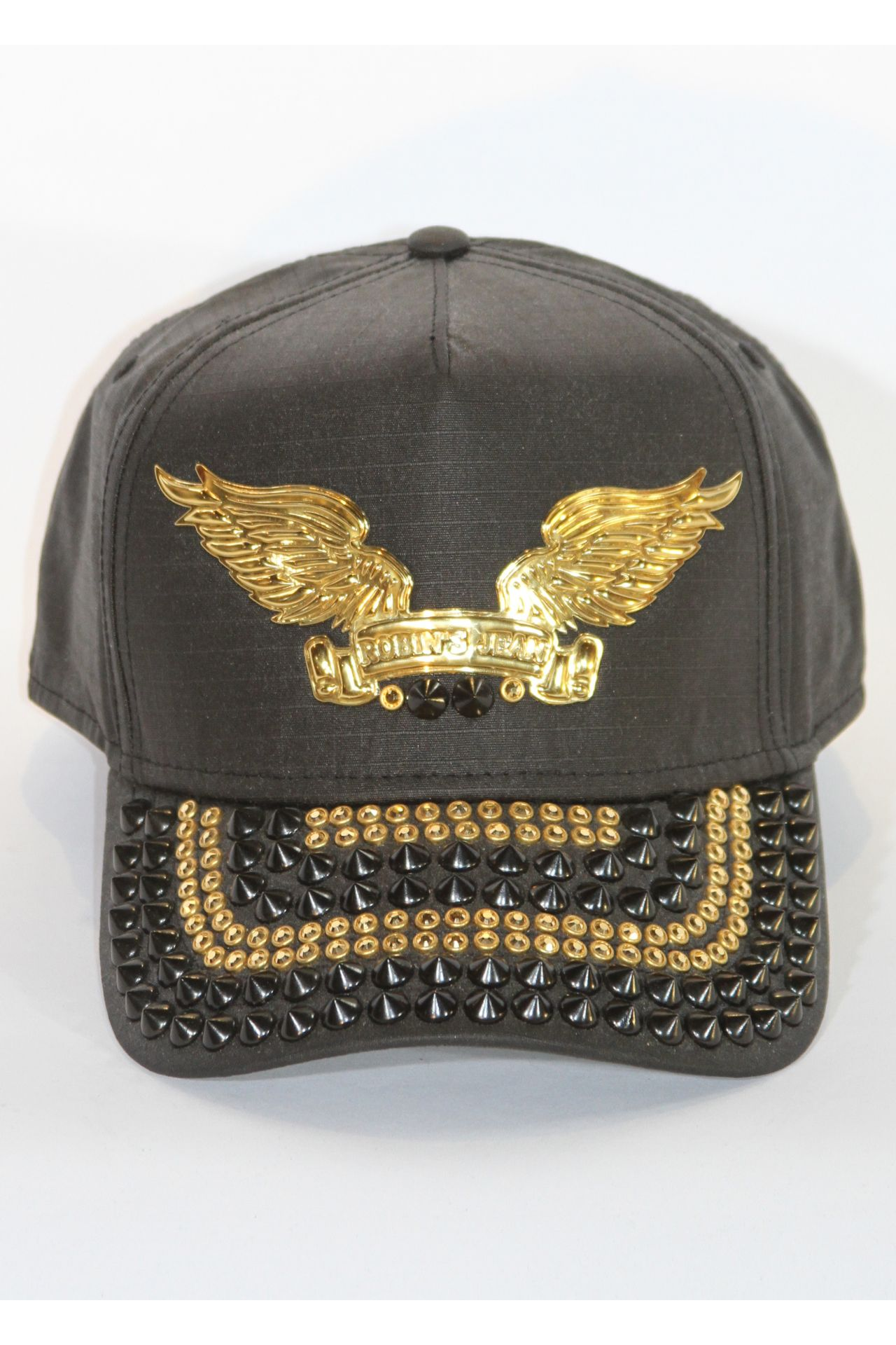 BLACK CAP WITH GOLD STUDS AND BLACK SPIKES