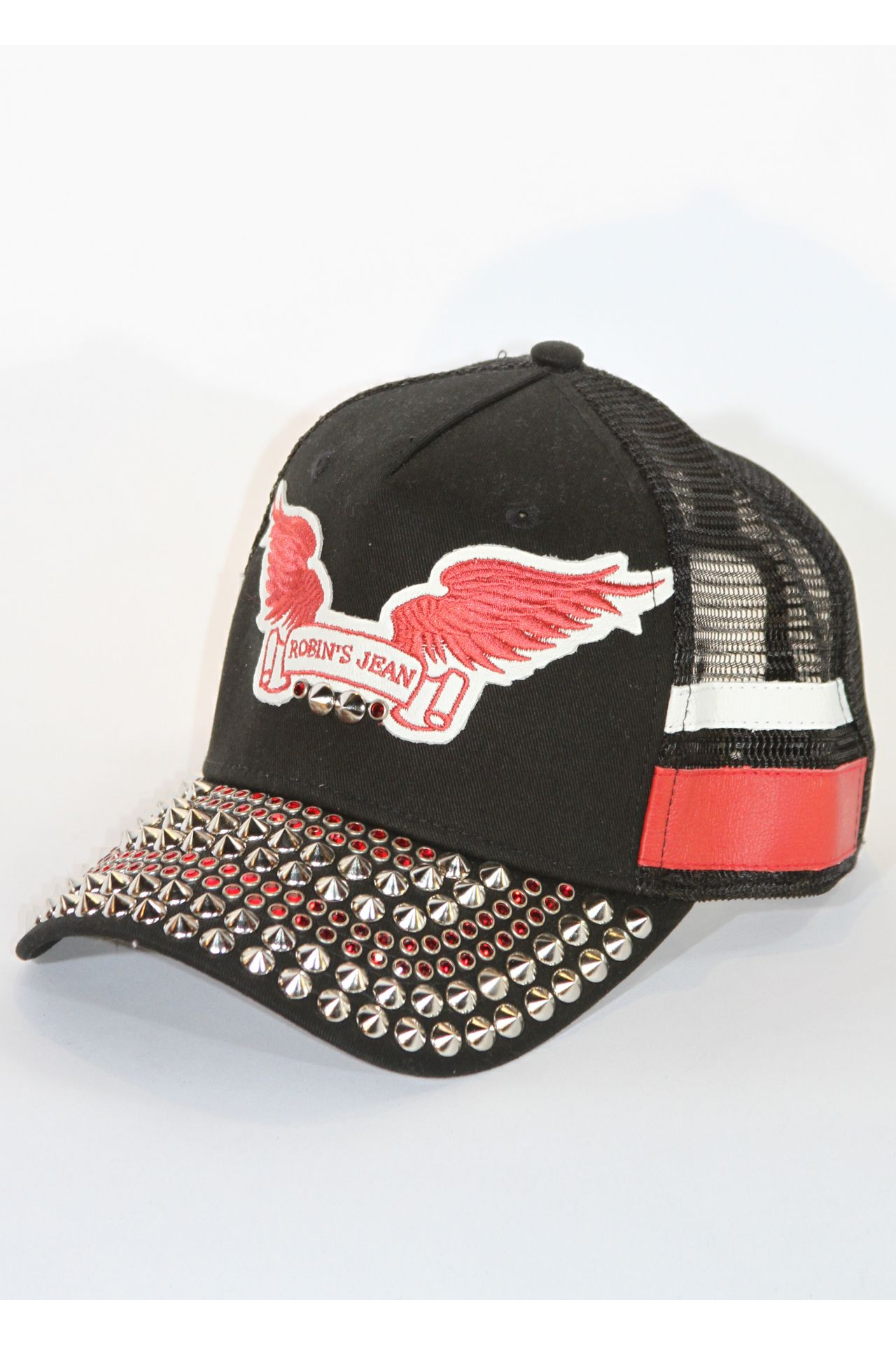 BLACK TRUCKER CAP WITH RED SW AND NICKLE SPIKES