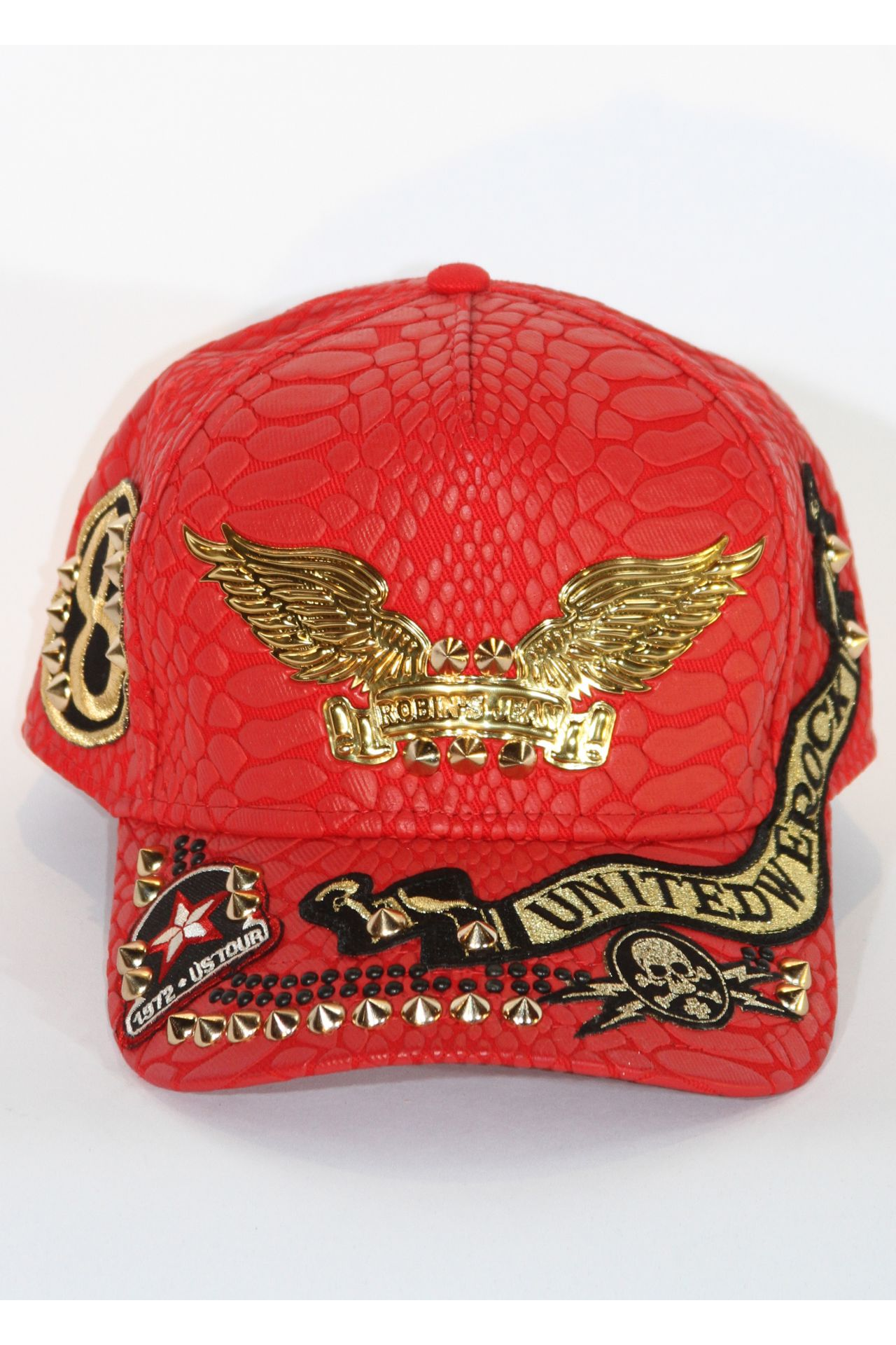 CRACKLE HAT IN RED WITH PATCHES AND NH STUDS