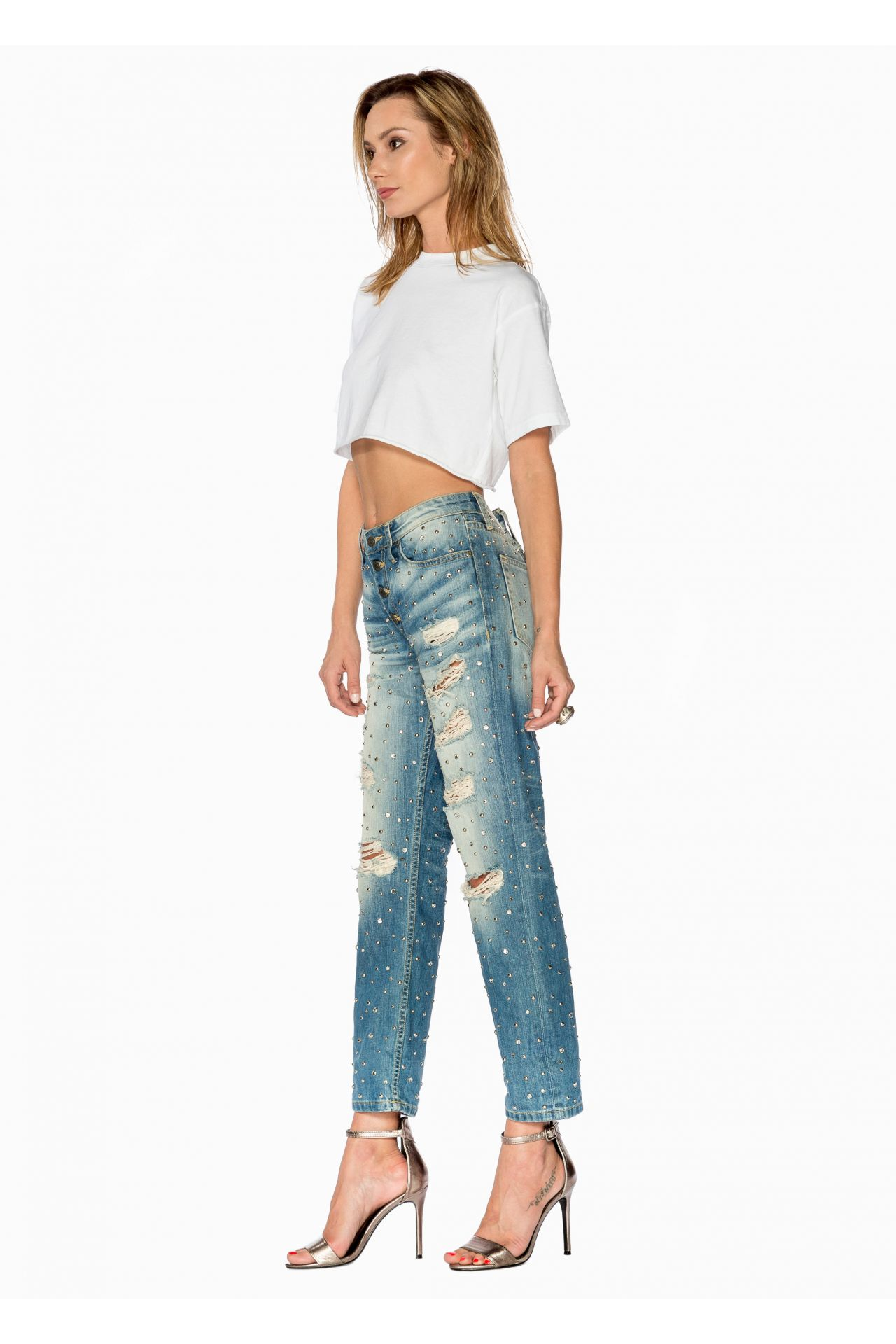 BOYFRIEND JEANS IN ELROY MEDIUM WITH CLEAR AND SILVER STUDS