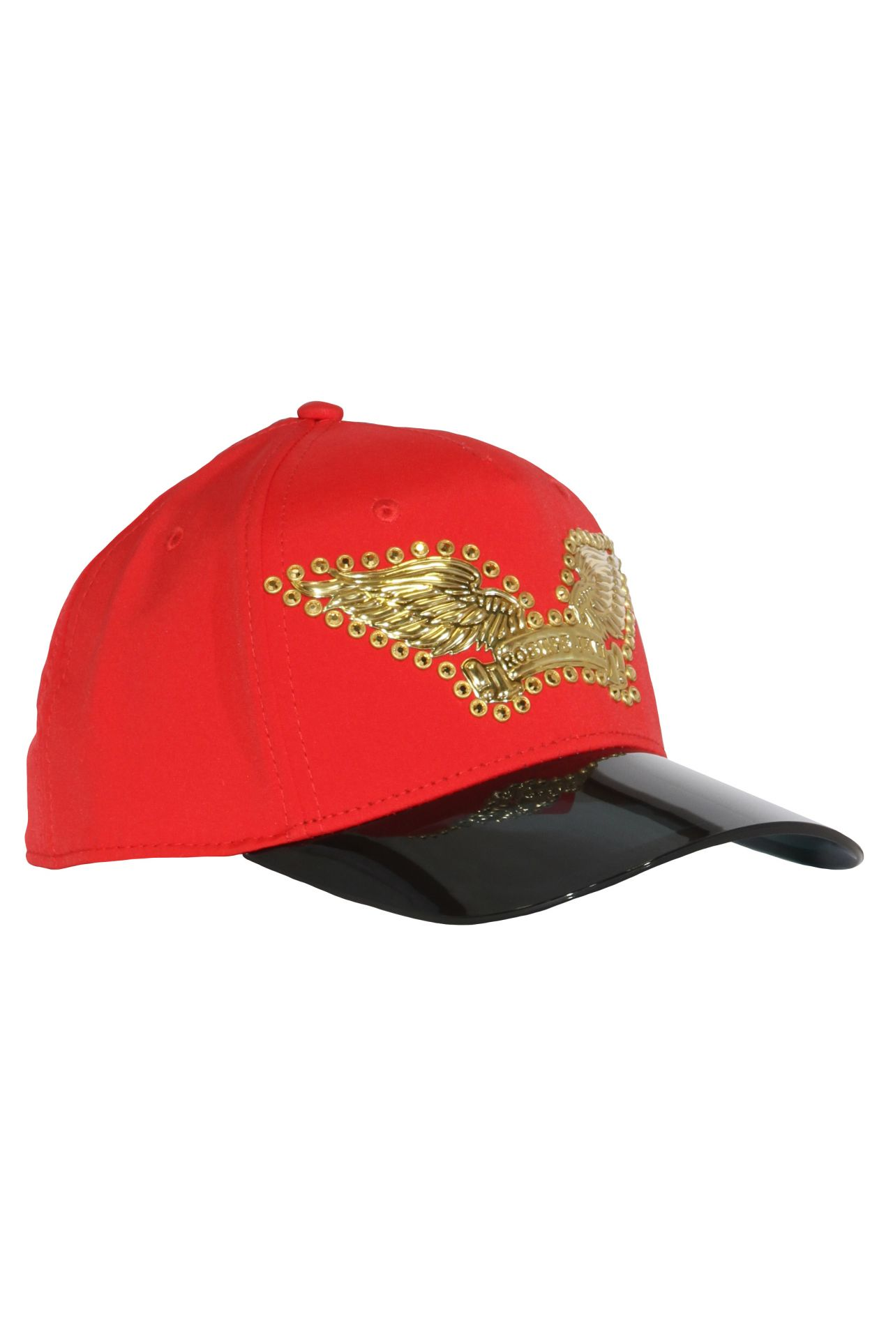 VISOR CAP IN RED WITH GOLD SW