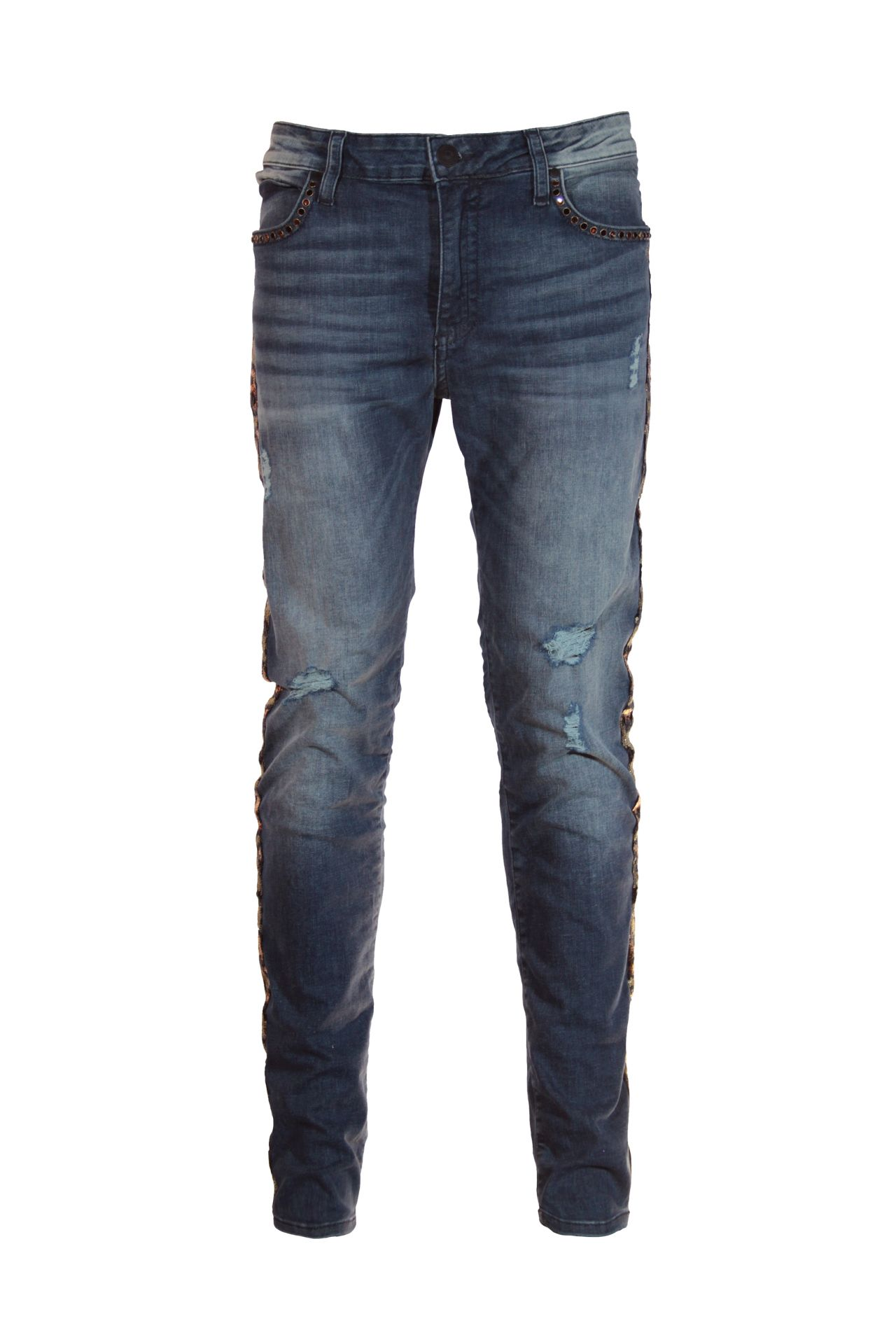 SKINNY JEAN IN ELROY DARK BROKEN WITH LEOPARD SEQUENCE AND CRYSTALS