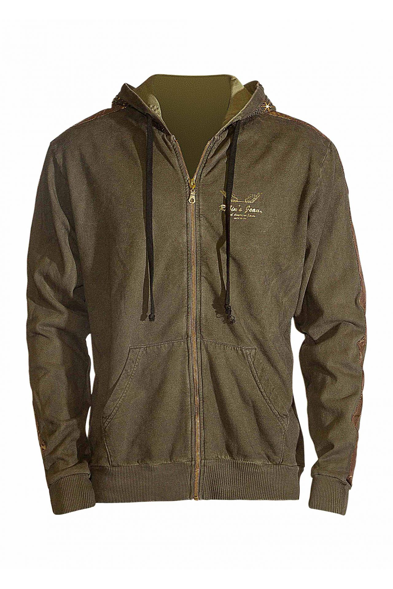ARMY GREEN HOODIE WITH STRIPES AND SW