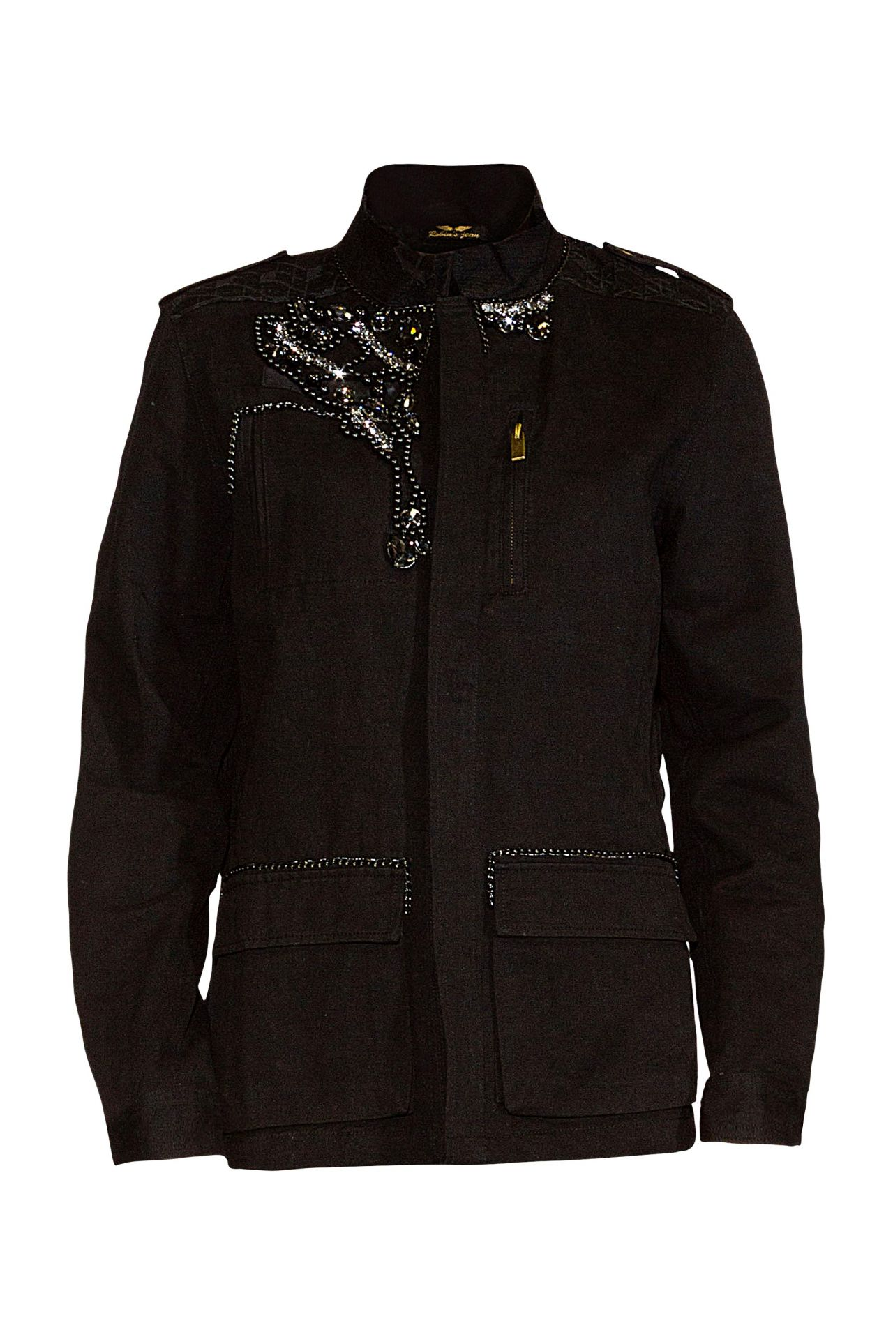 MILITARY JACKET WITH CRYSTALS IN BLACK
