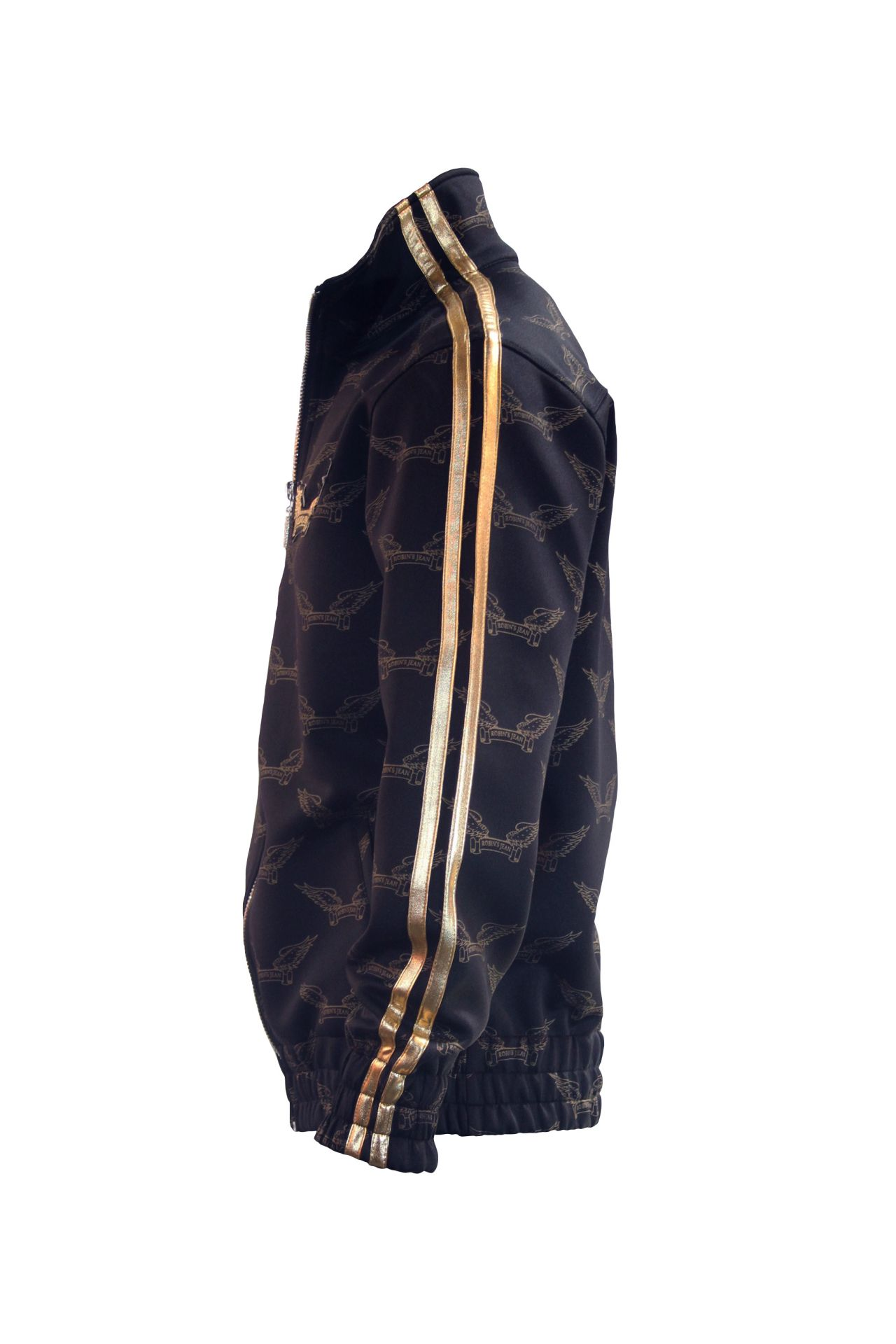 ROBIN'S MONOGRAM TRACK JACKET IN BLACK AND GOLD