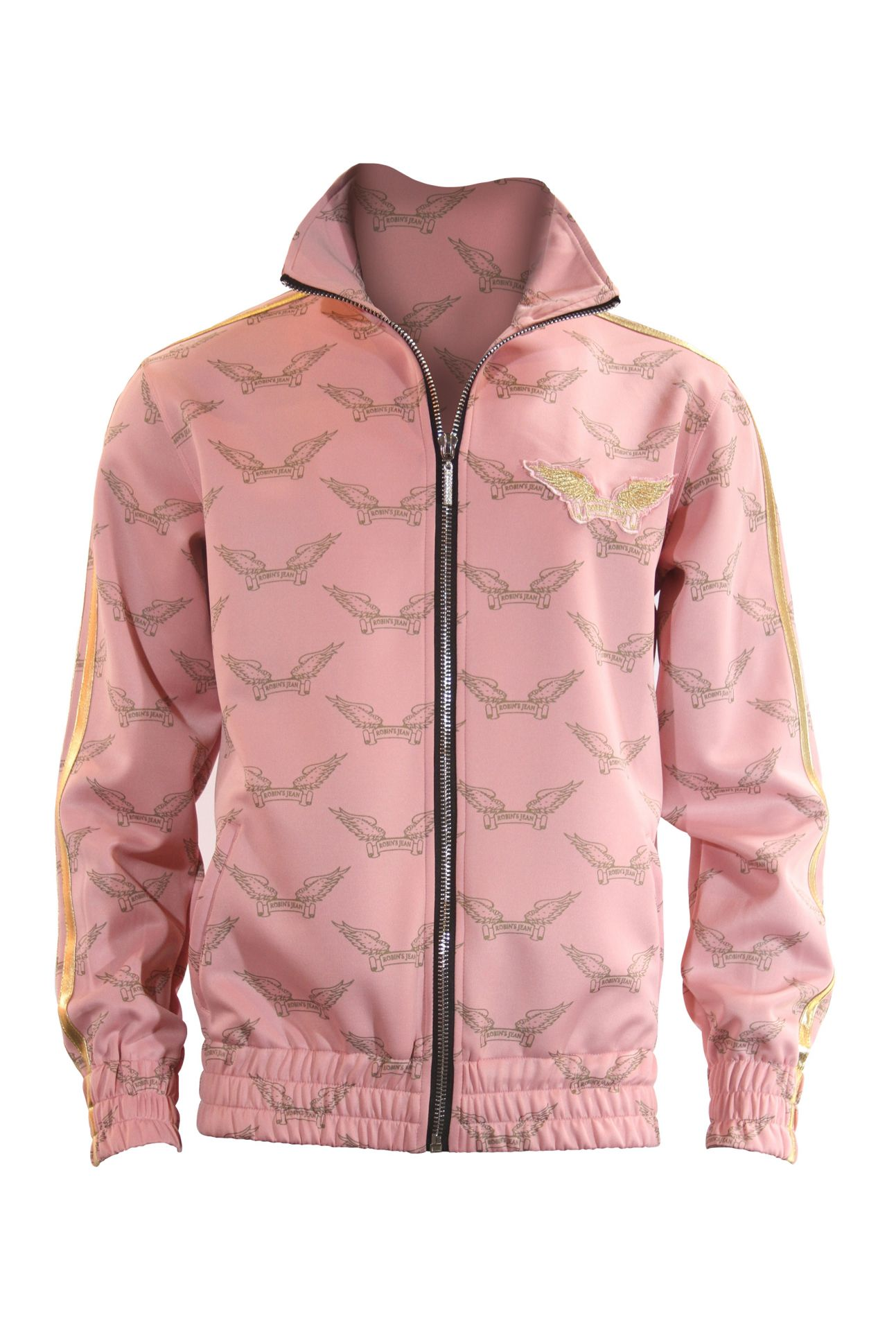 ROBIN'S MONOGRAM TRACK JACKET IN PINK AND GOLD