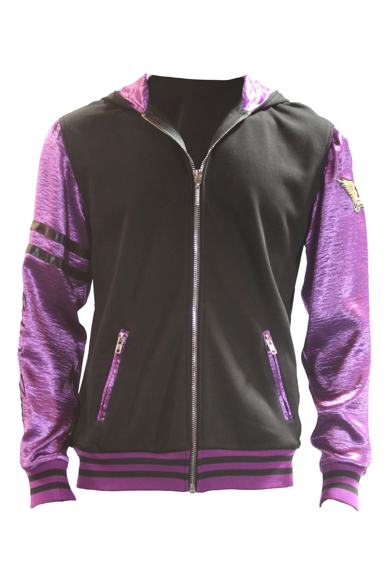 CLASSIC TRACK JACKET IN BLACK AND PURPLE WITH CHIEF