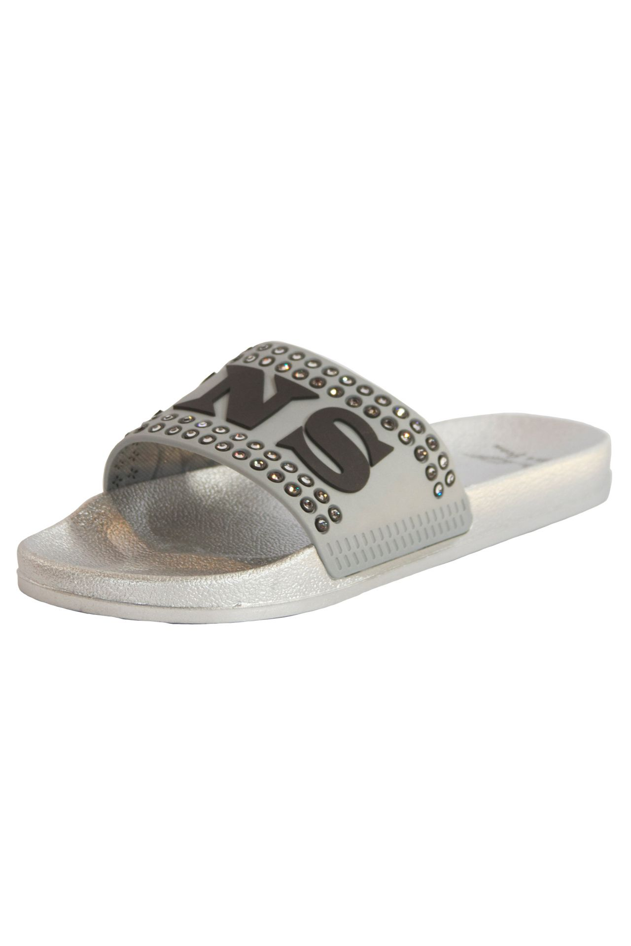 ROBIN SLIDES IN SILVER WITH SMOKY CRYSTALS