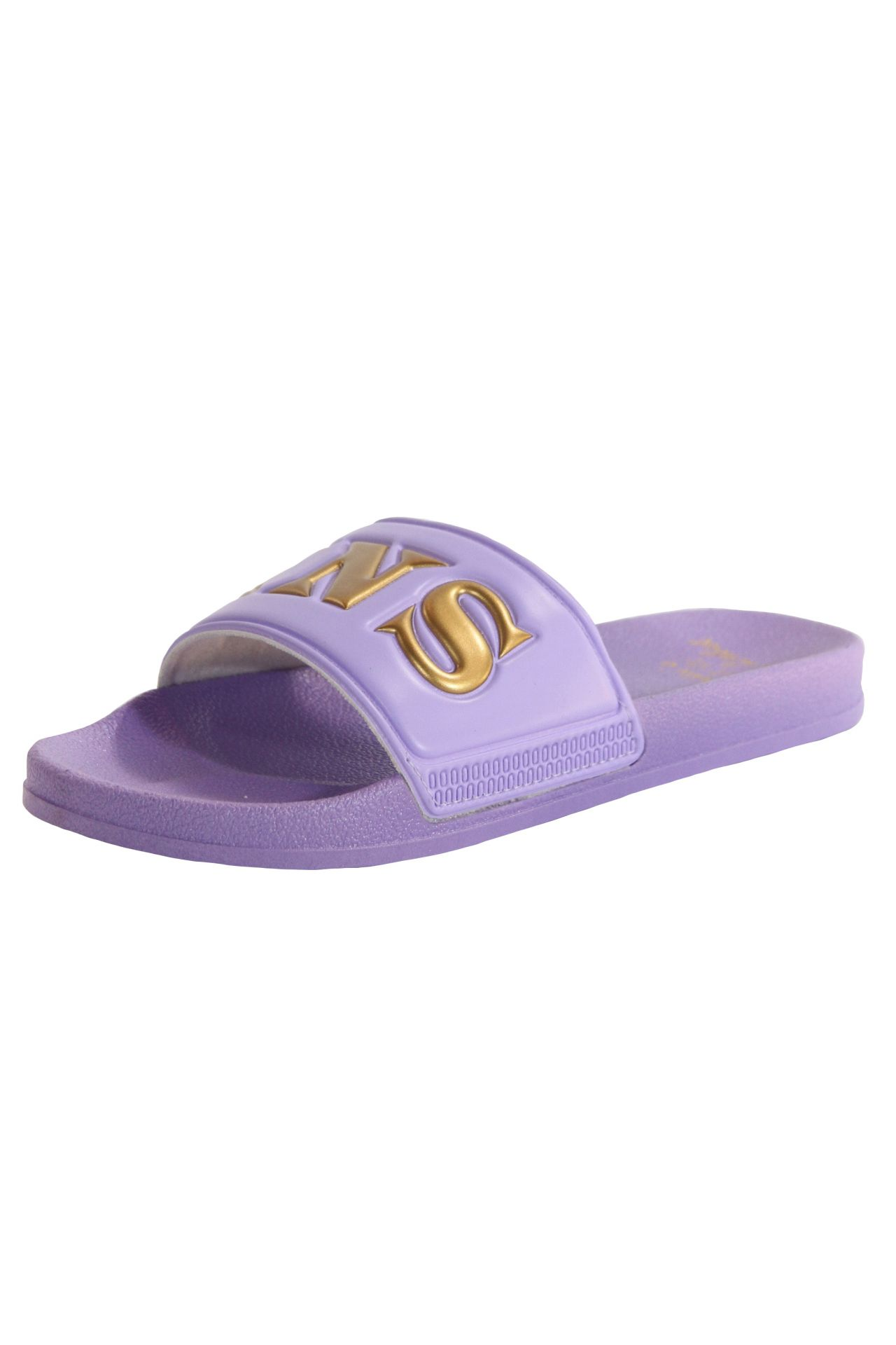 ROBIN SLIDES IN PURPLE AND GOLD