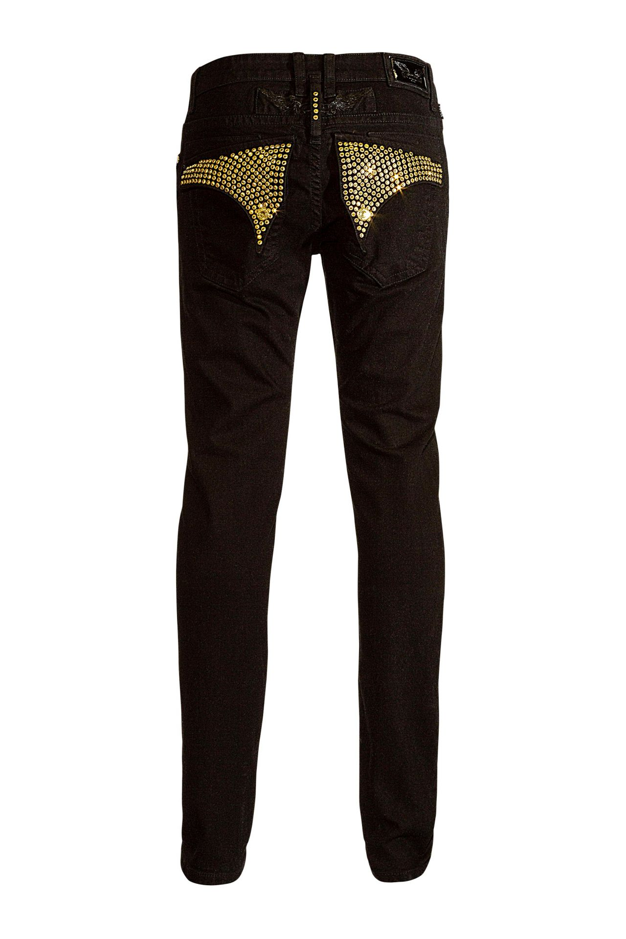LONG FLAP SKINNY IN PURE BLACK WITH GOLD SW