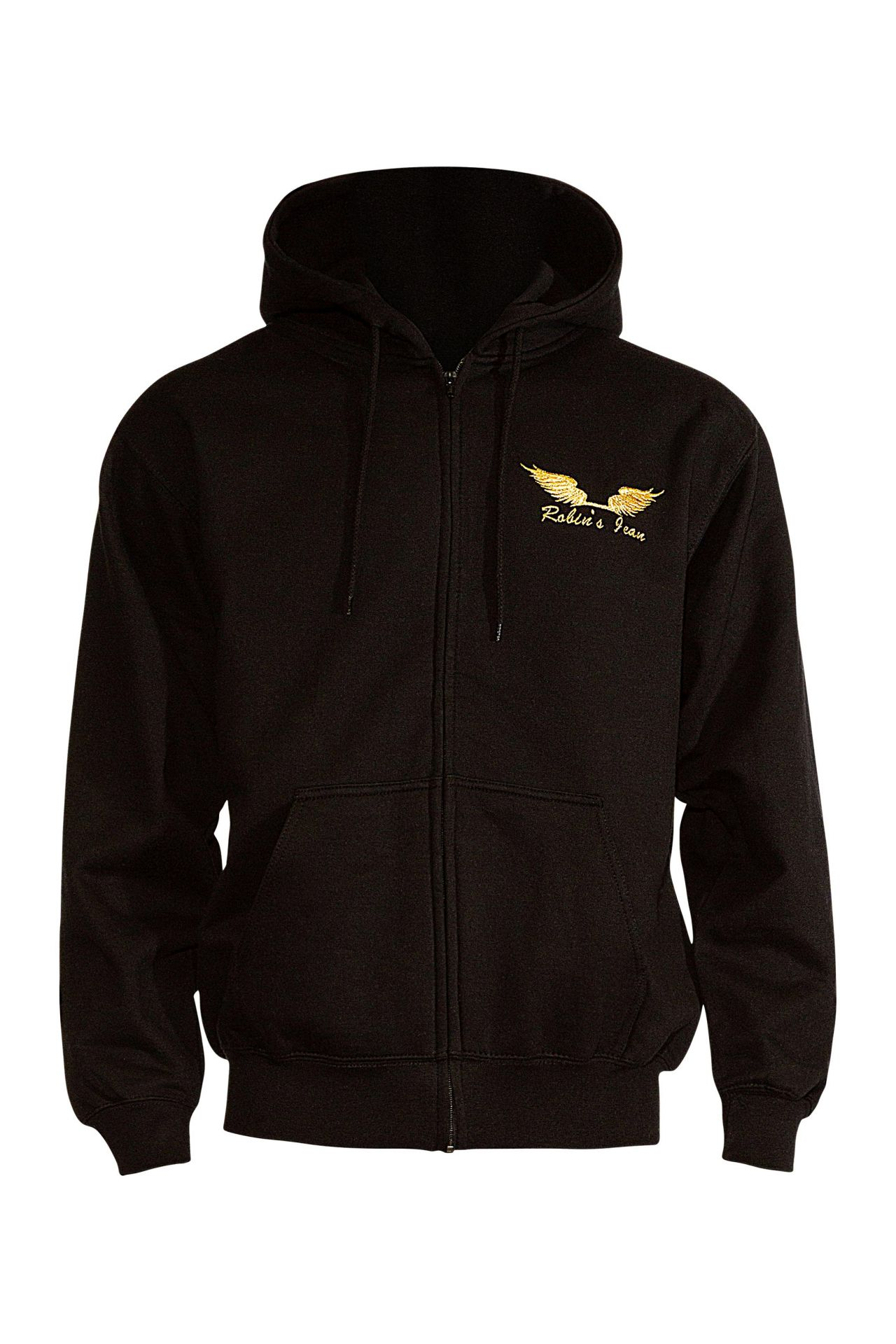 GOLD WINGS ZIP HOODIE IN BLACK