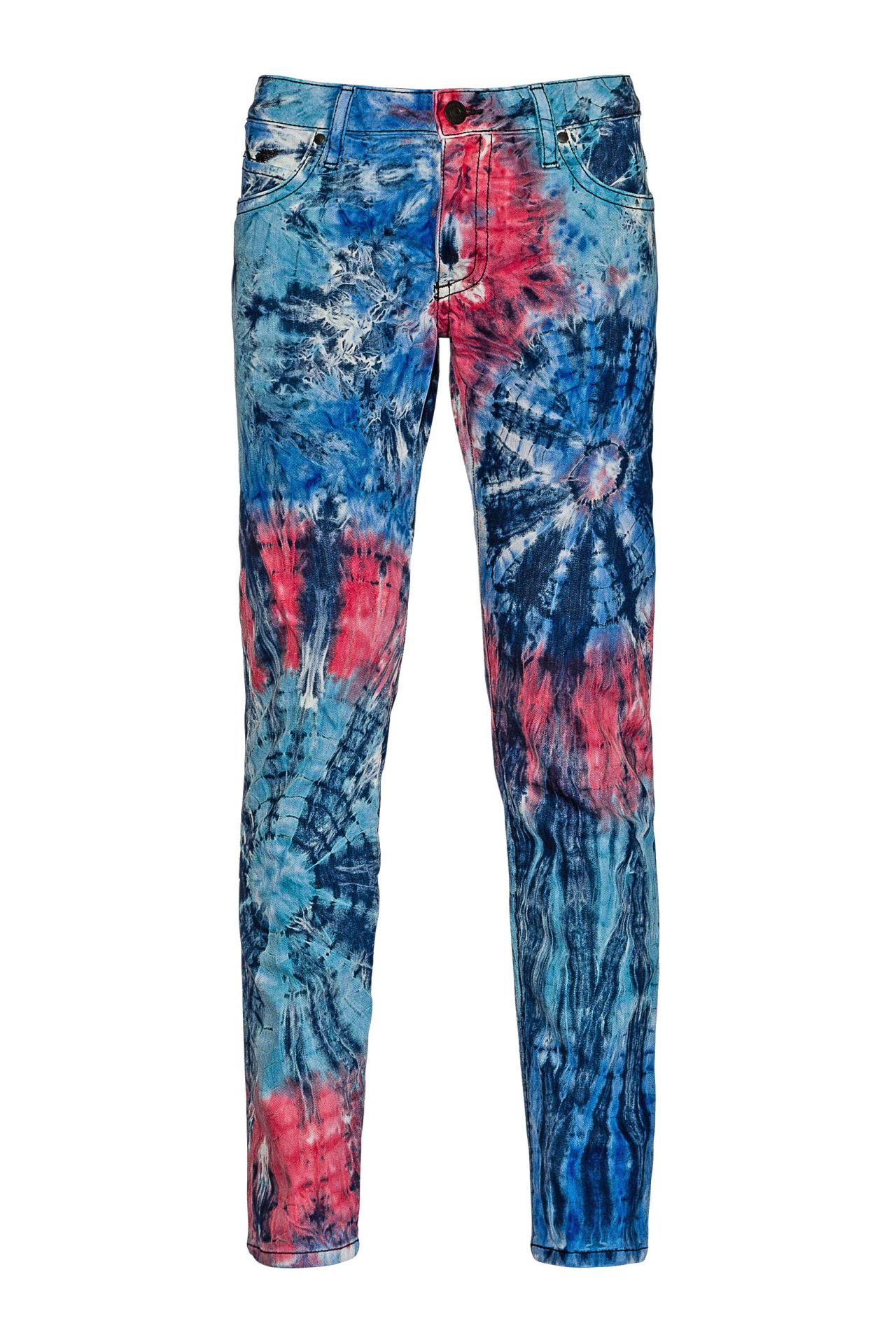 LONG FLAP SKINNY IN FIRE BLUE TIE DYE WITH BLACK AND MONTANA SW