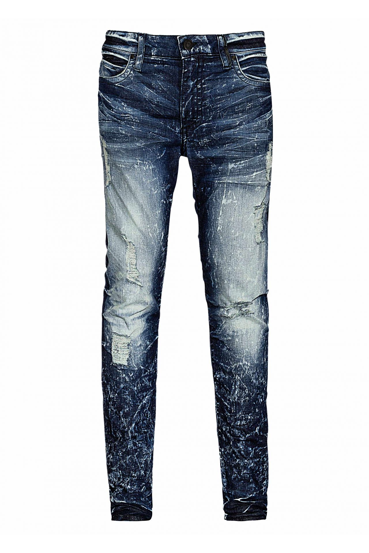ACID WASH DESTROYED DOUBLE POCKET SKINNY WITH CRYSTALS