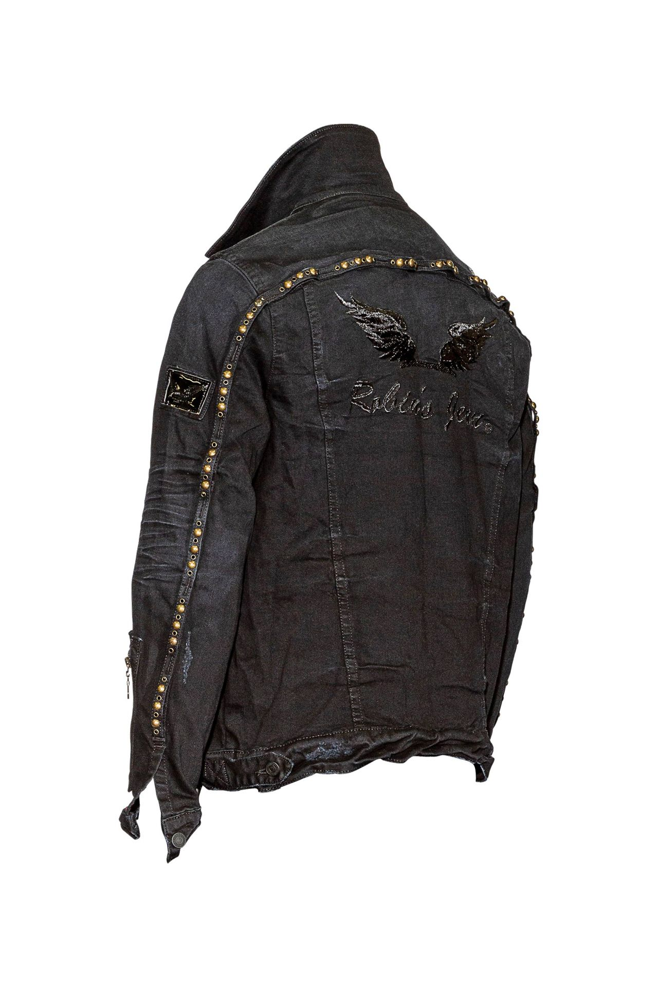 CARGO STYLE DENIM JACKET WITH SW IN F-UP BLACK
