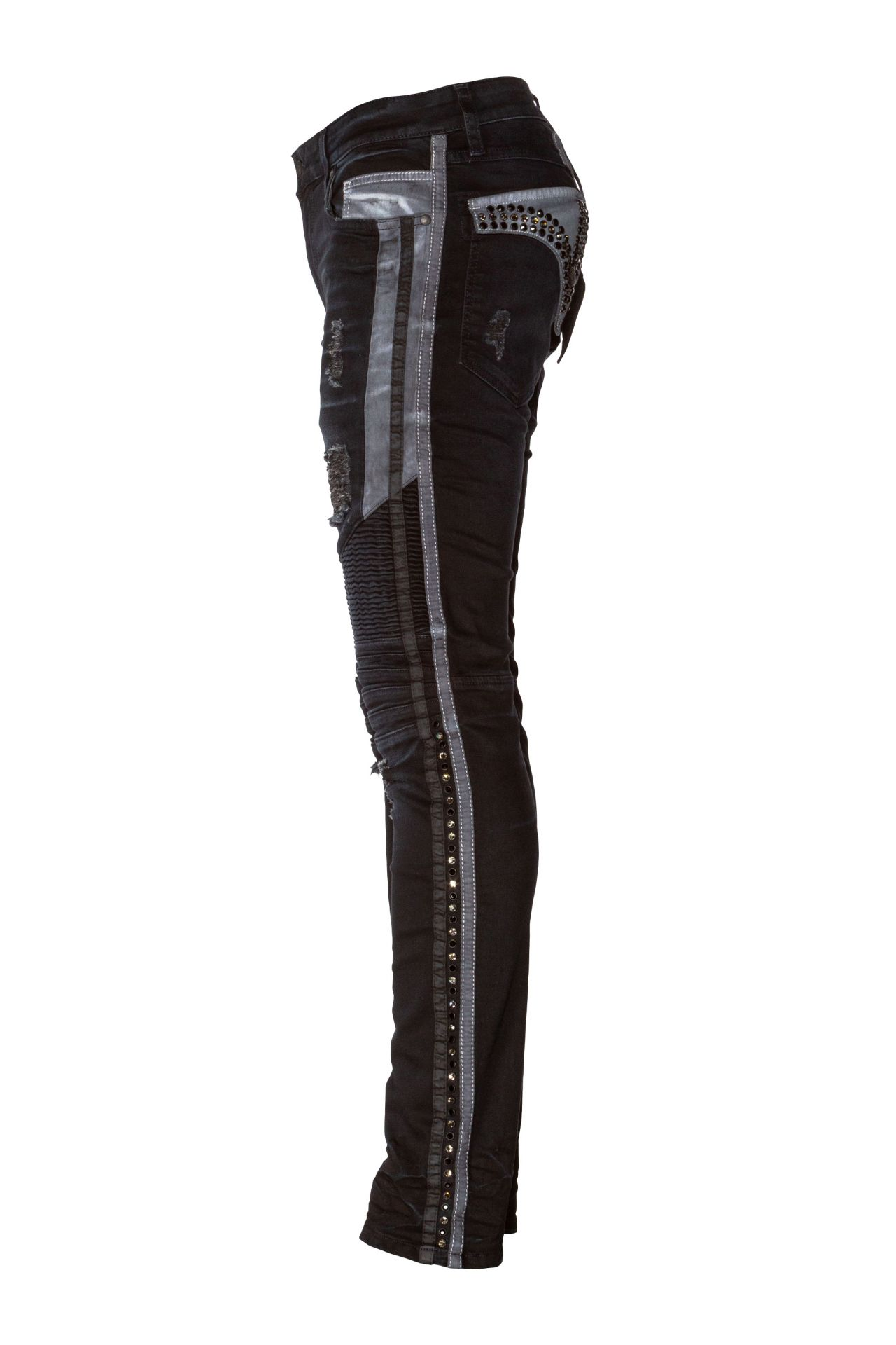 BIKER JEANS IN  F-UP BLACK WITH CRYSTALS