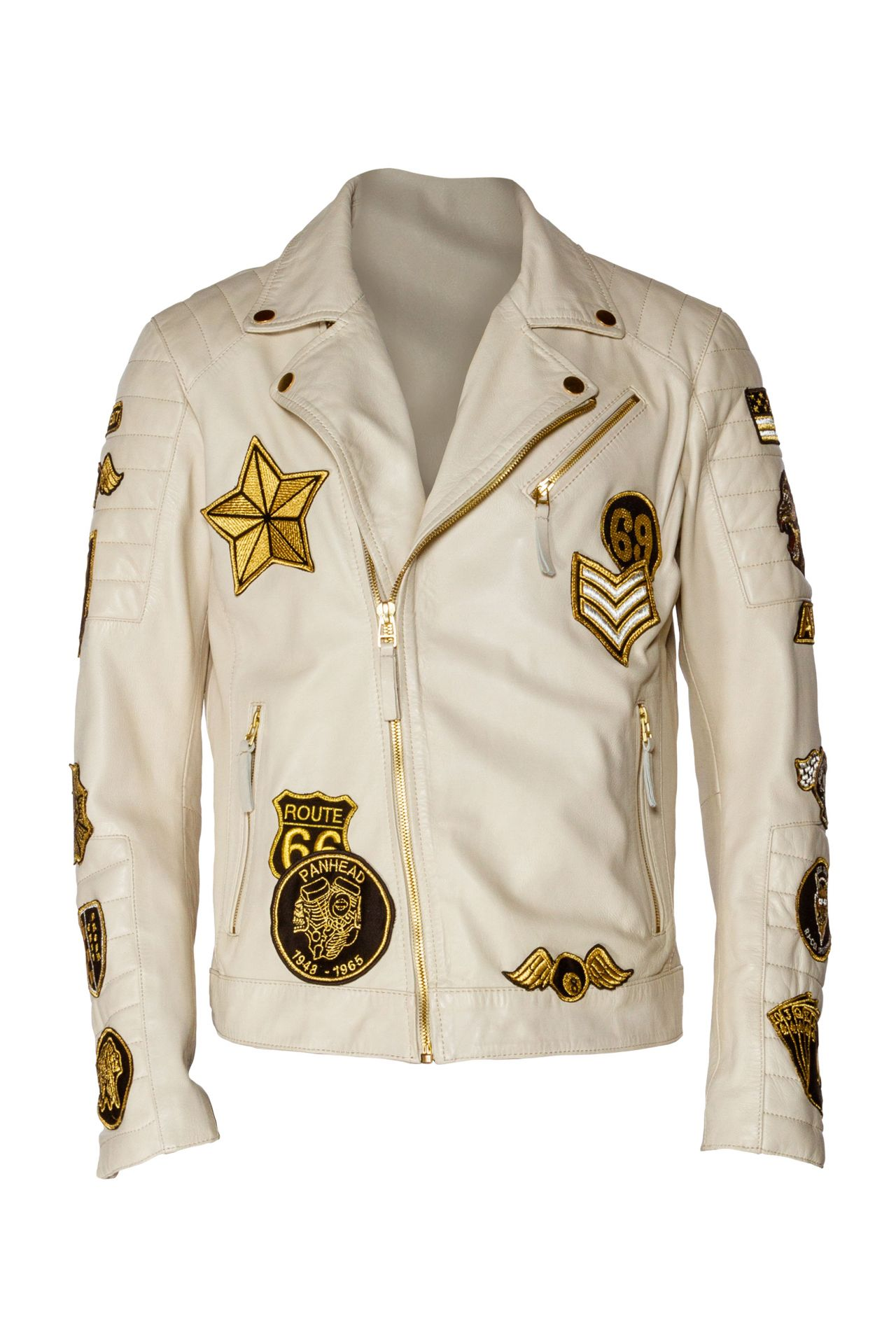 WHITE LEATHER BIKER JACKET WITH PATCHWORK