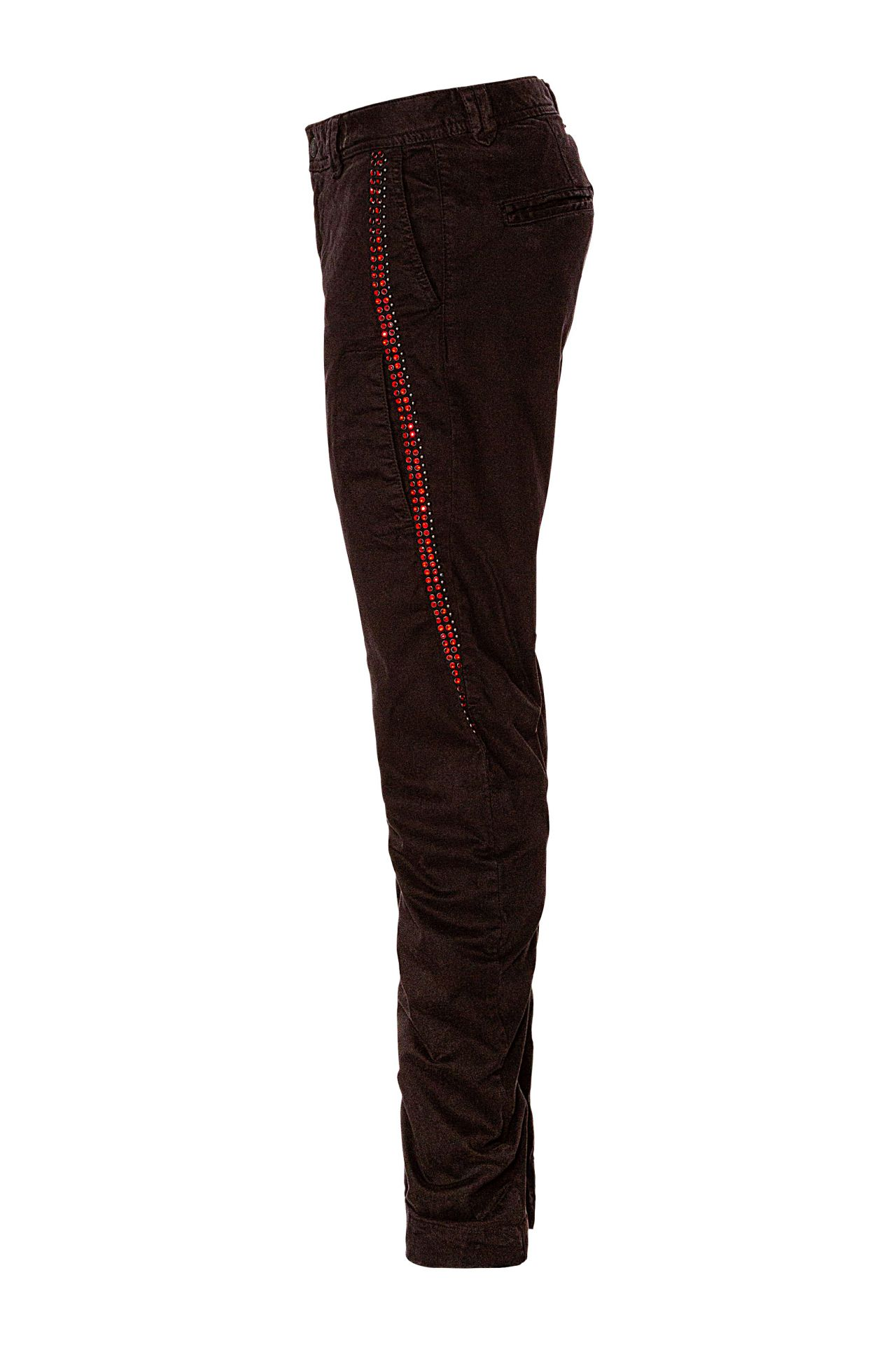 CHINO IN BLACK WITH RED CRYSTALS