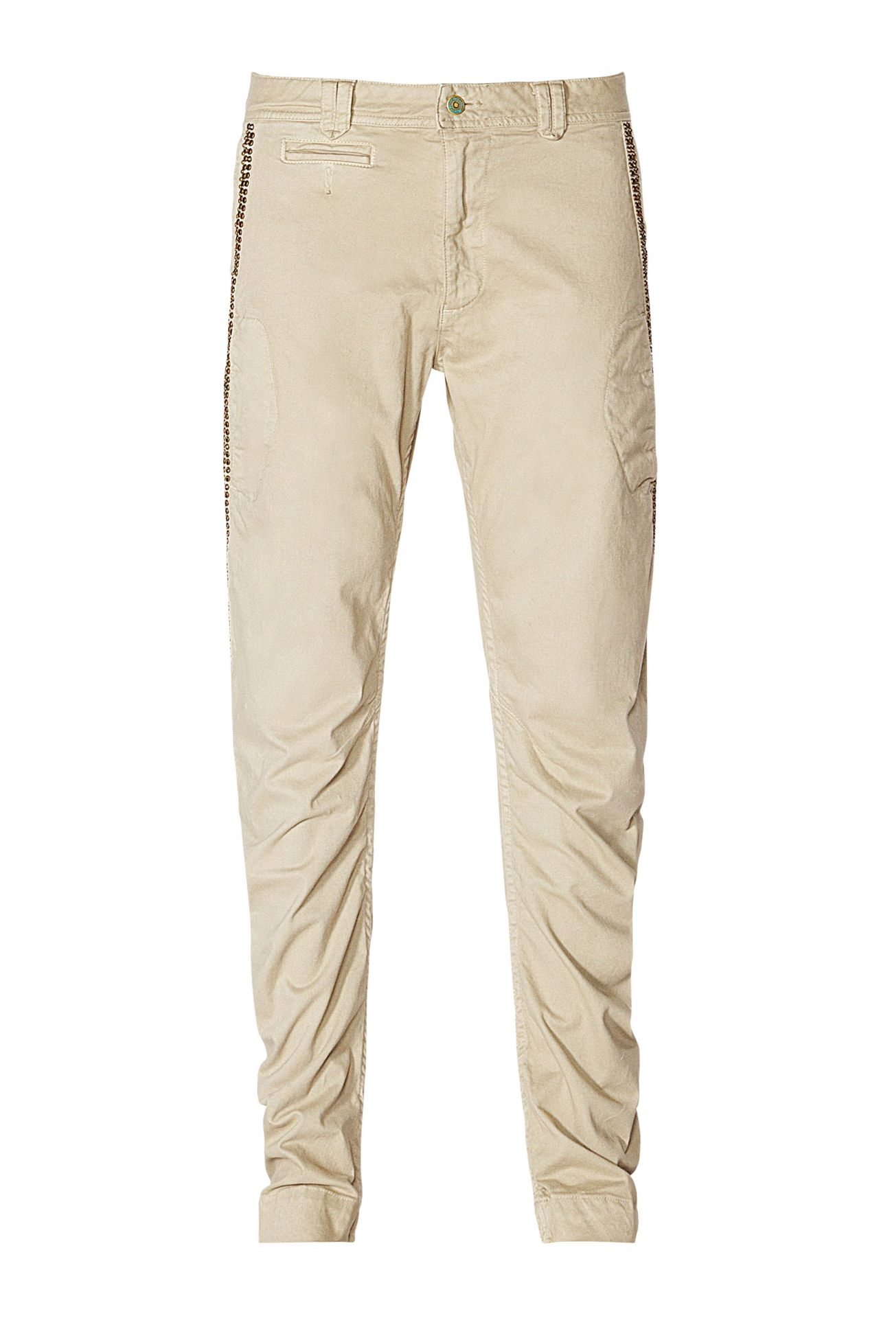 CHINO IN KHAKI WITH CRYSTALS