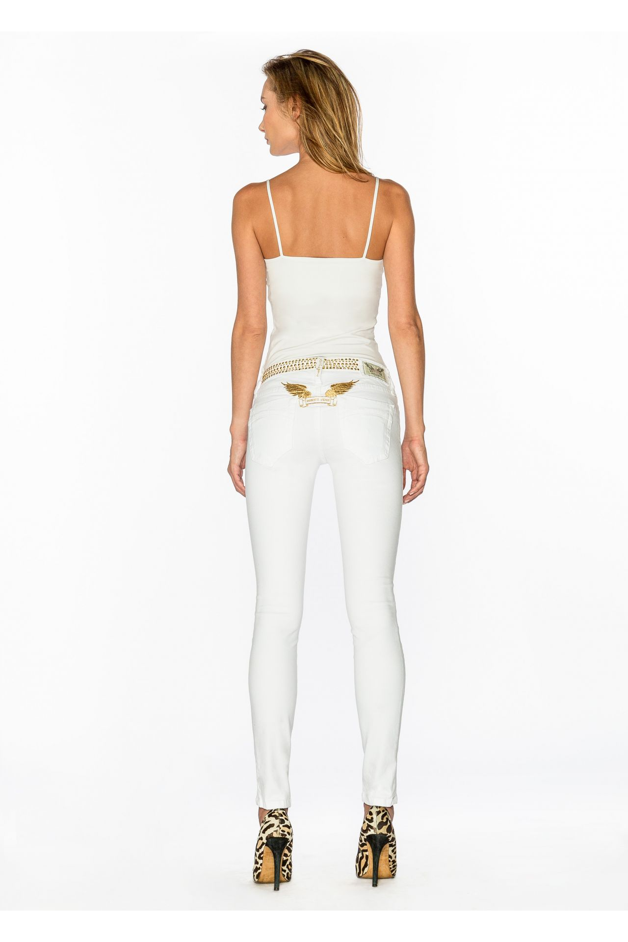 LOW RISE SKINNY WITH GOLD IN WHITE