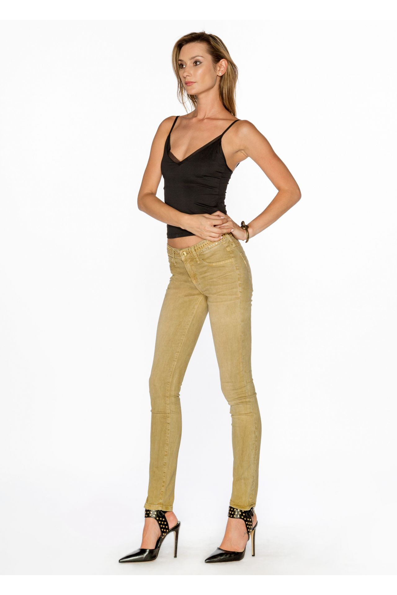 LOW WAISTED SKINNY JEANS IN PIGMENT SPRAY KHAKI WITH STUDS AND SW