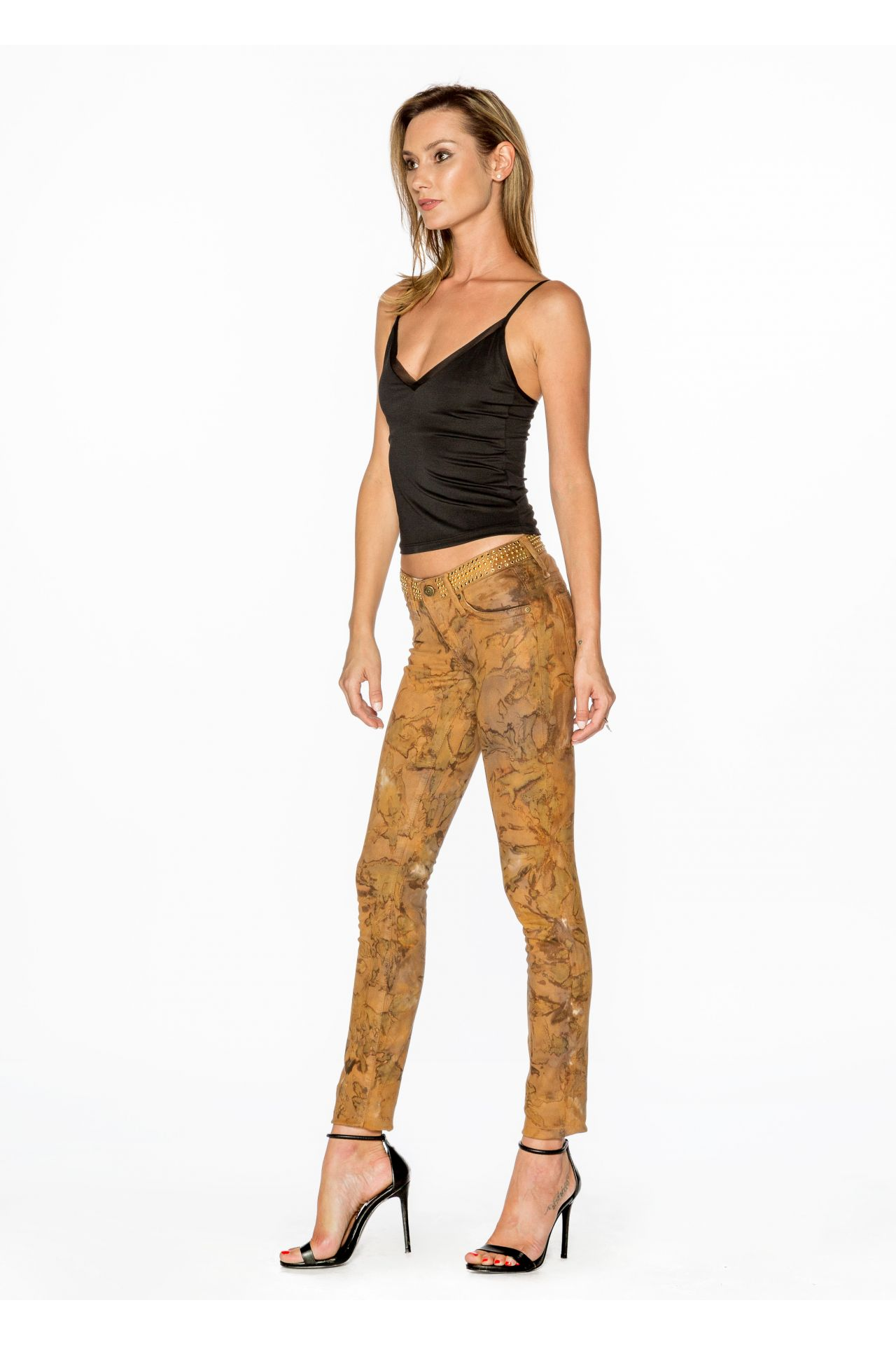 LOW WAISTED SKINNY JEANS IN MUD BROWN WITH STUDS AND SW