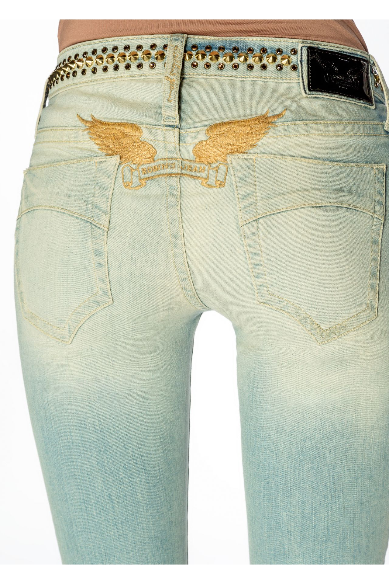 RIPPED SKINNY JEANS WITH GOLD STUDDING
