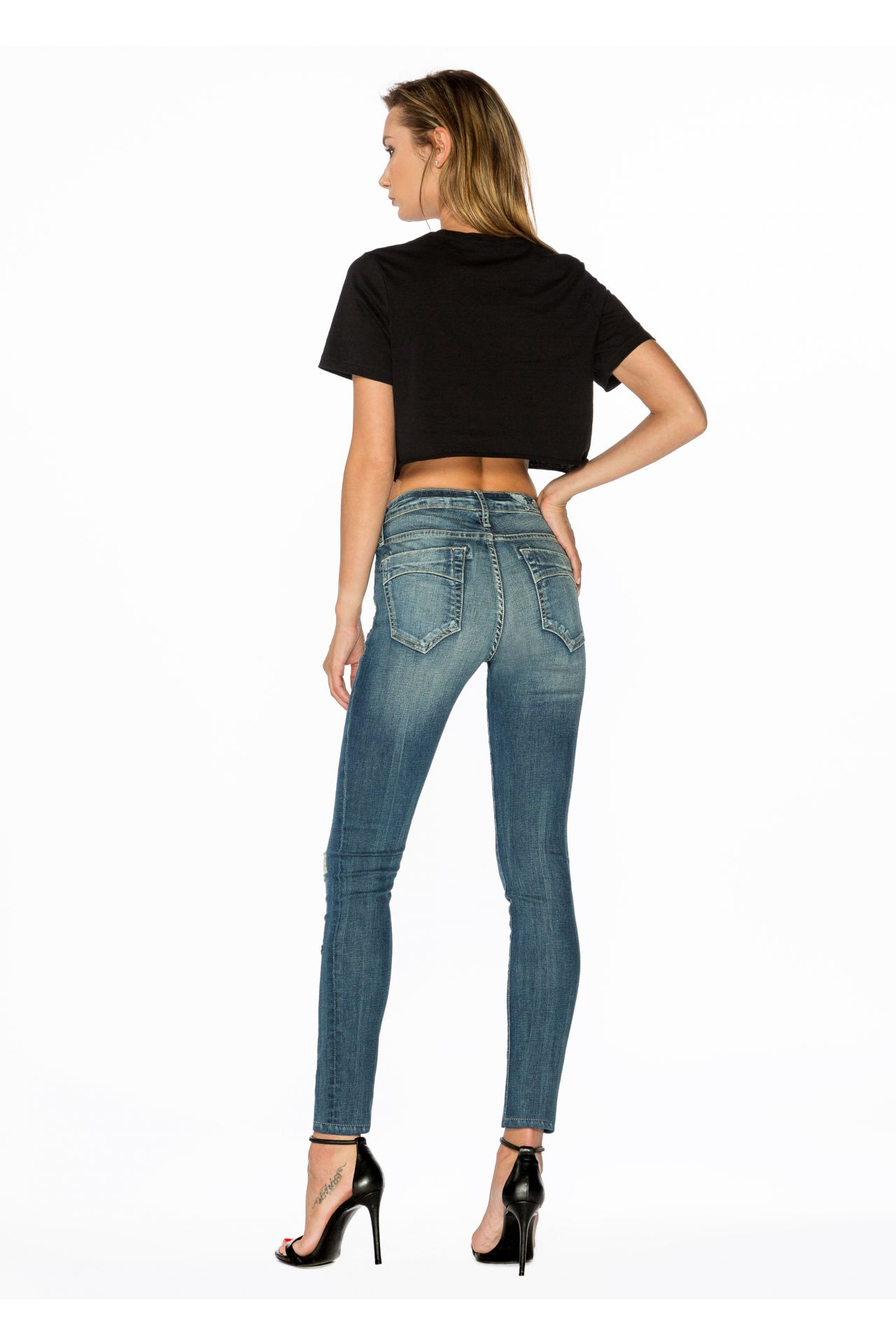 MIDRISE SKINNY WITH CRYSTAL STARS
