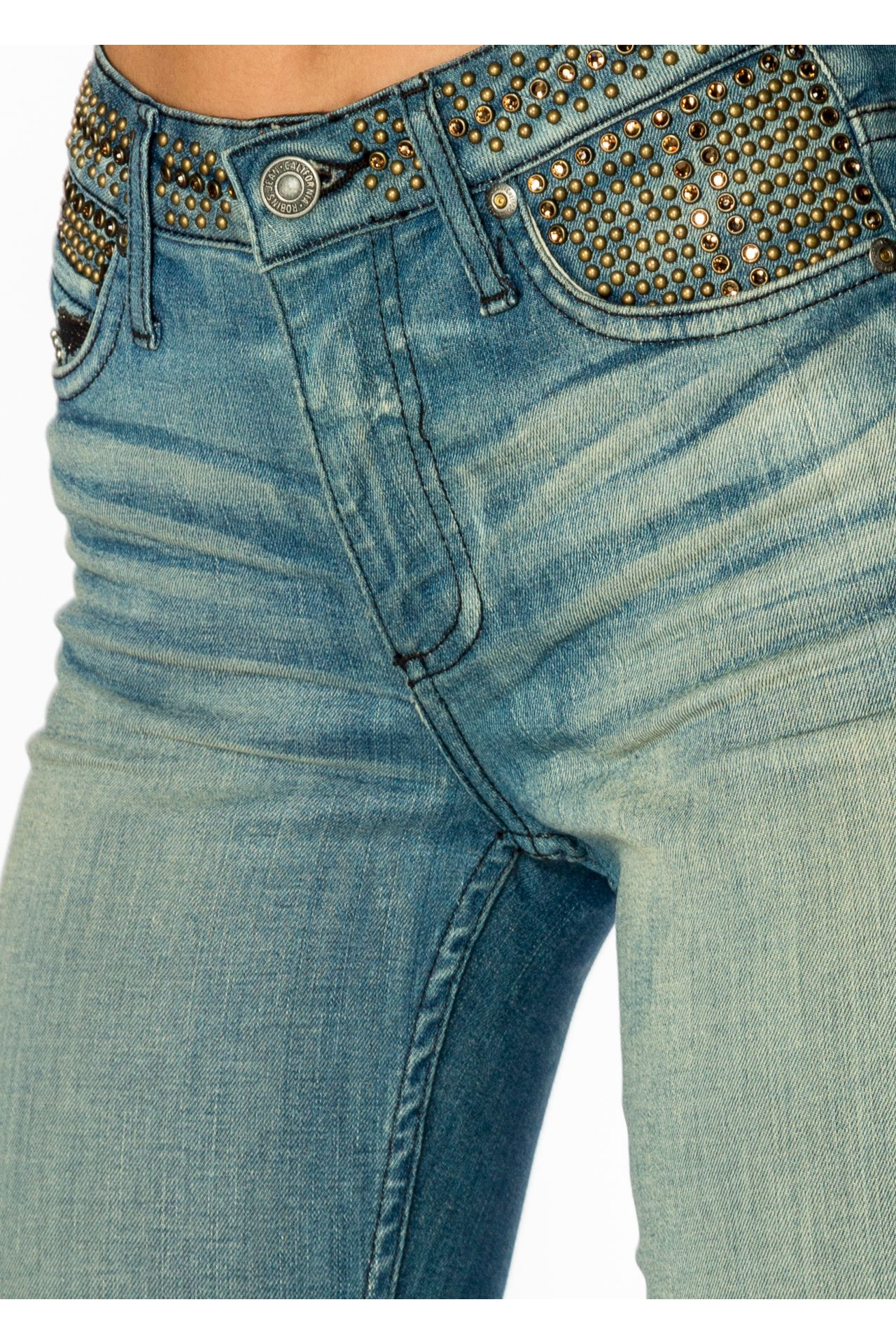MID RISE SKINNY JEANS WITH BRASS STUDS
