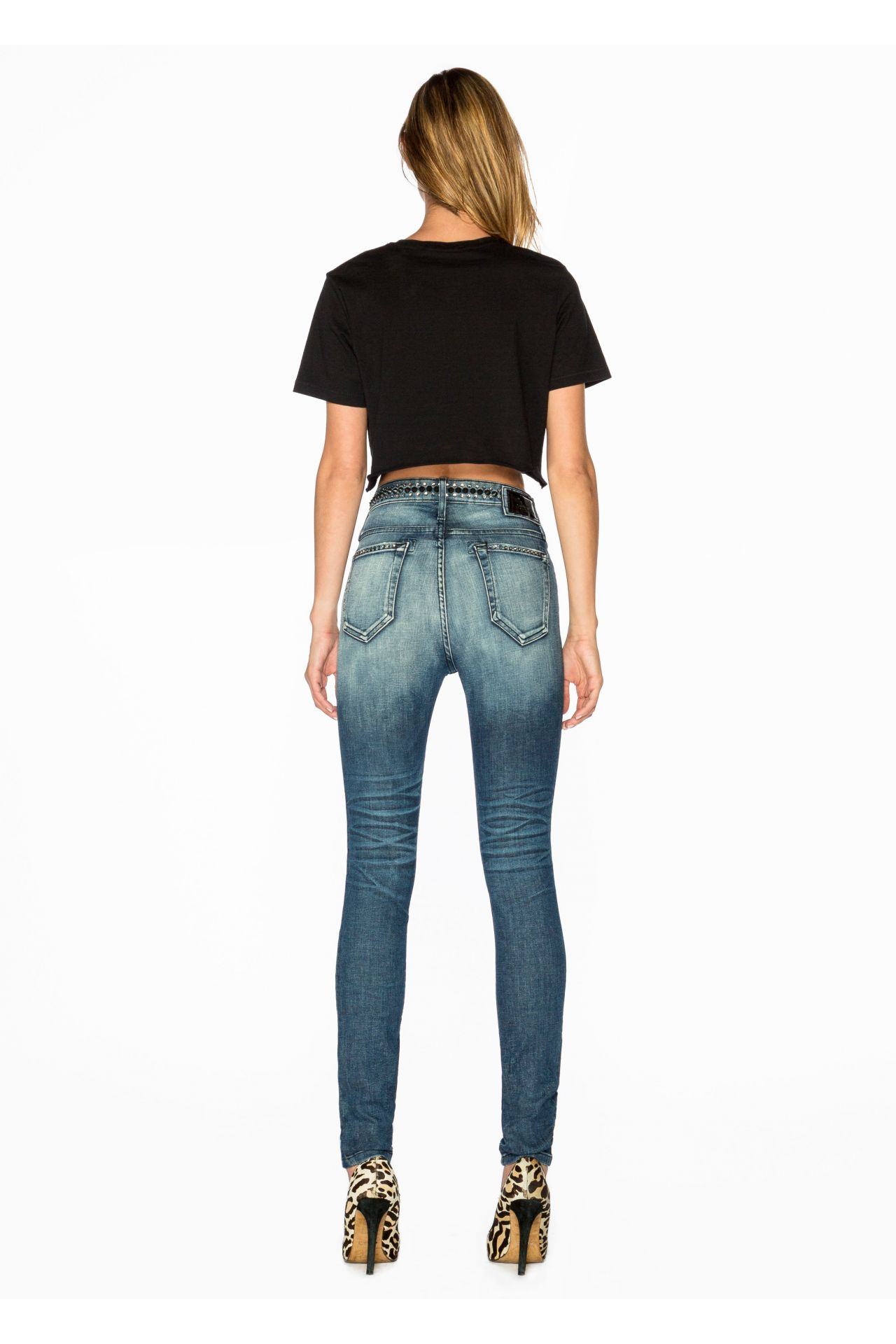 HIGH WAISTED SKINNY WITH BLACK SPIKES