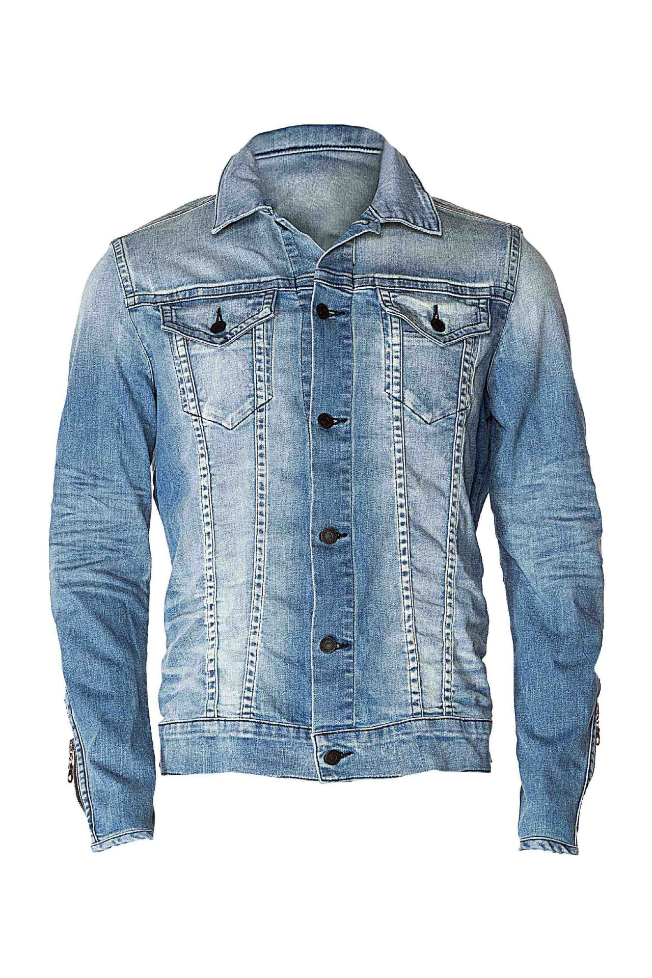 STUDDED CROSS DENIM JACKET IN BLUE AND WHITE