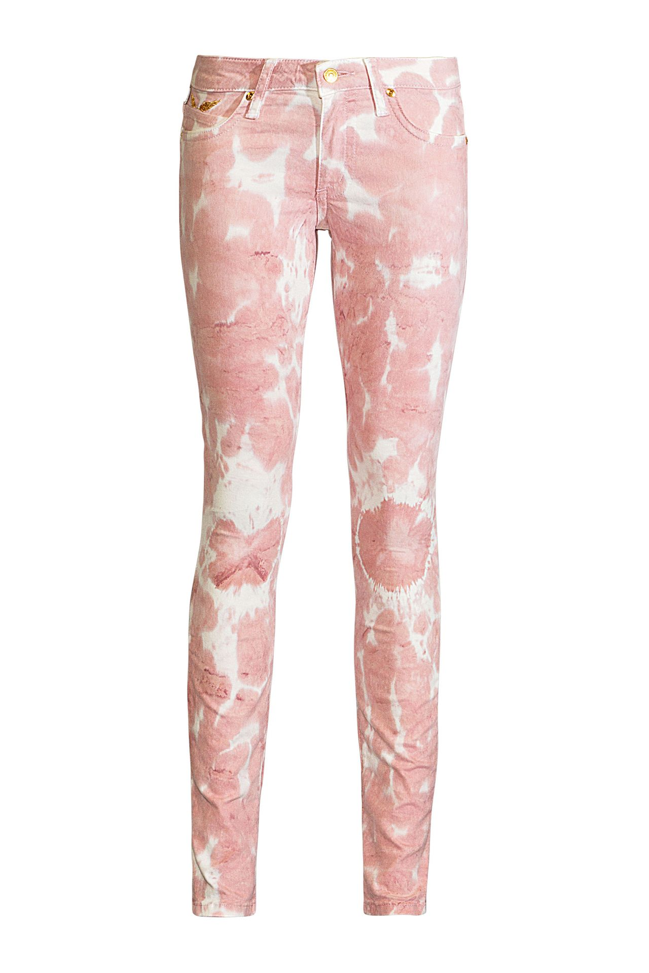 STRETCH SKINNY IN TIE DYED OLD PINK