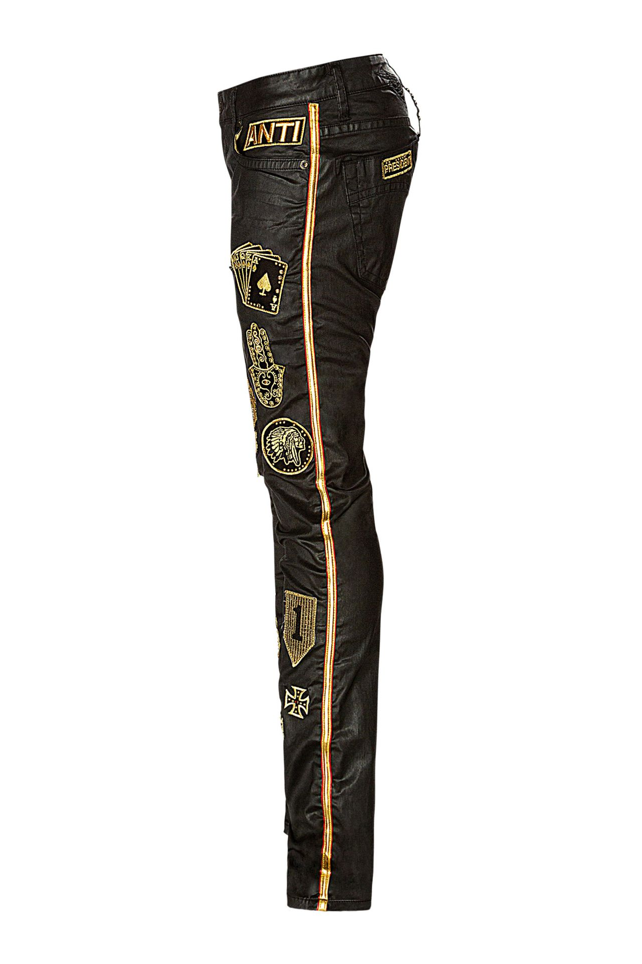 SKINNY IN GOLDSTRIPE ON BLACK WITH PATCHWORK