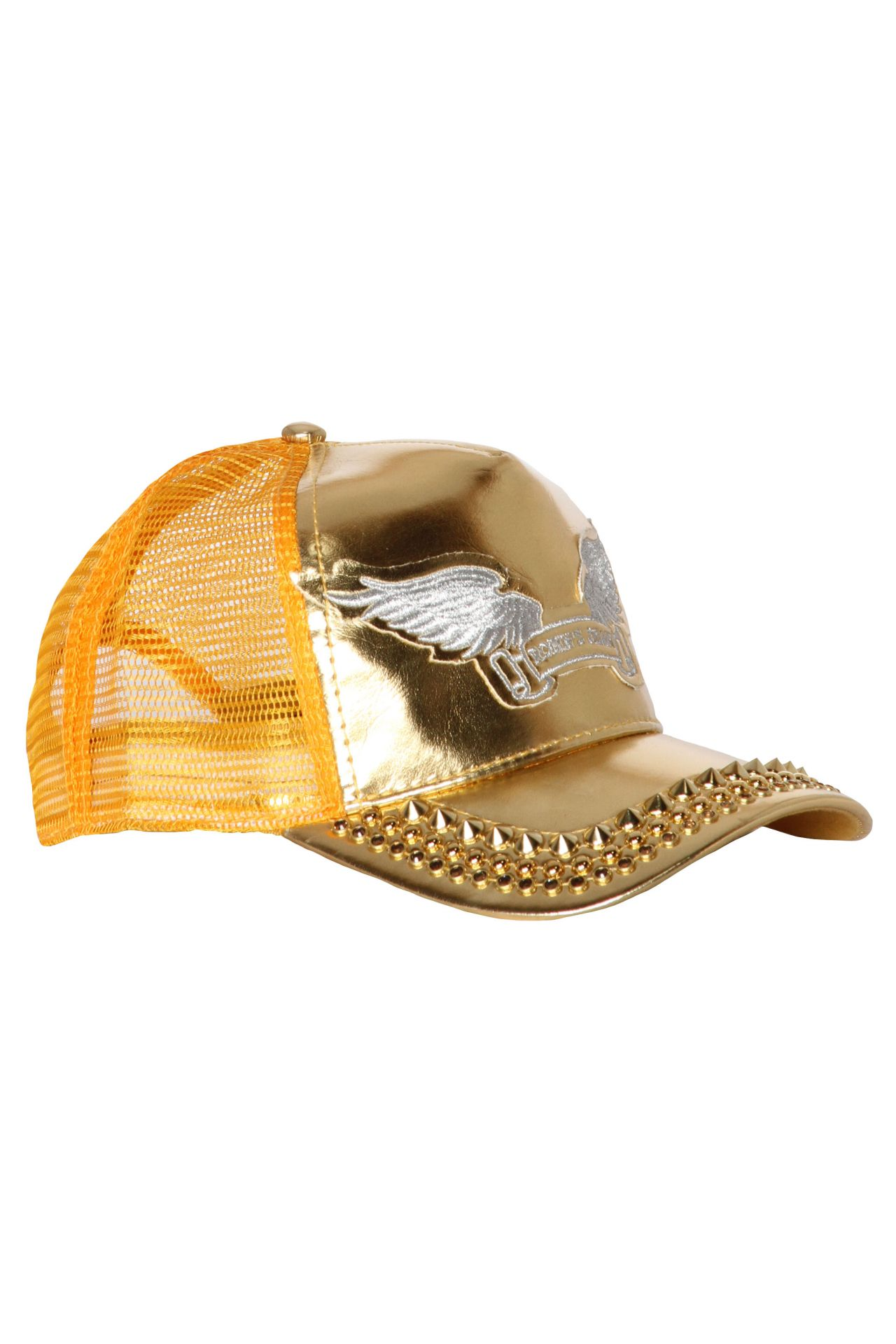 TRUCKER CAP IN GOLD WITH CRYSTALS