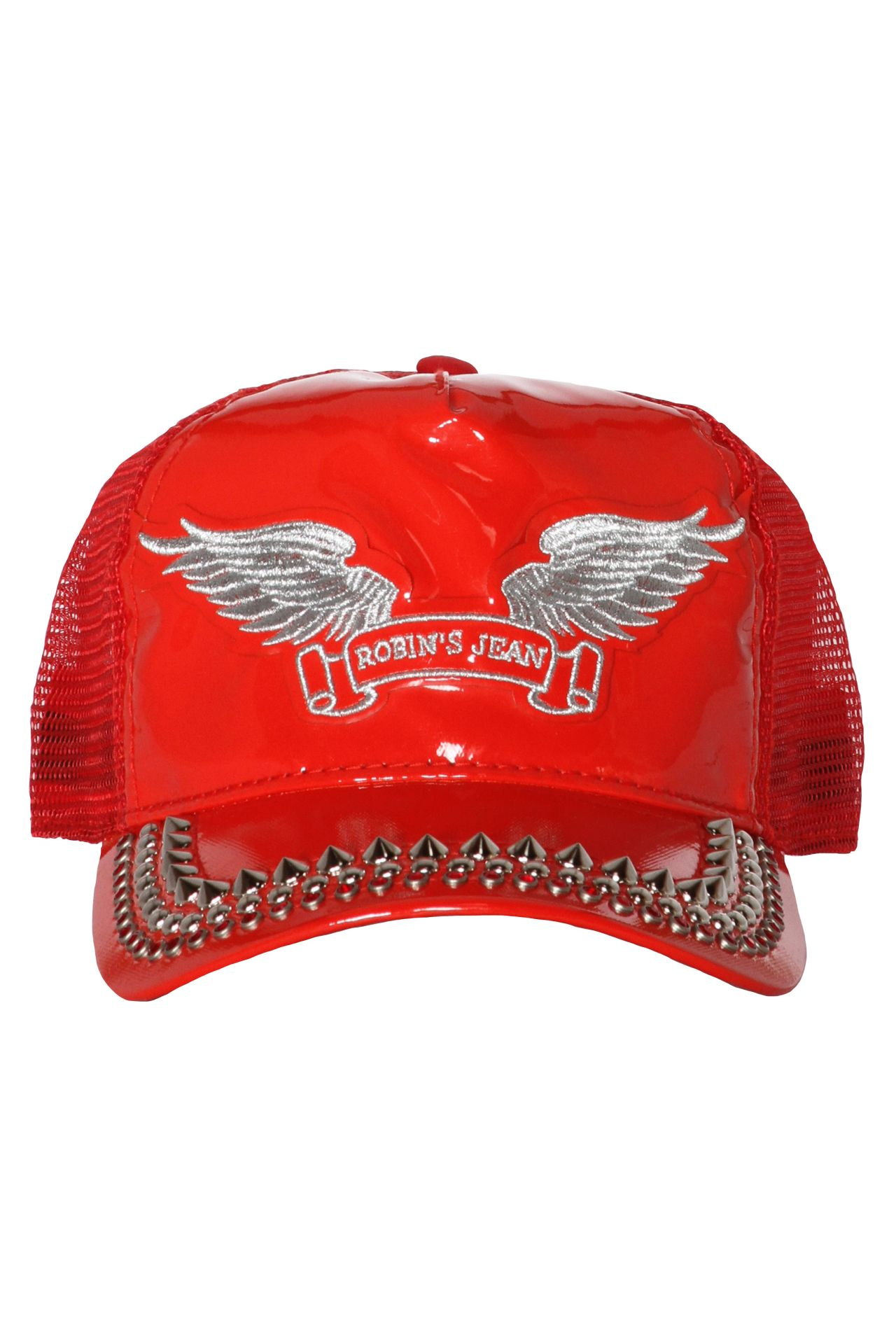 TRUCKER CAP IN PATENT RED WITH CRYSTALS