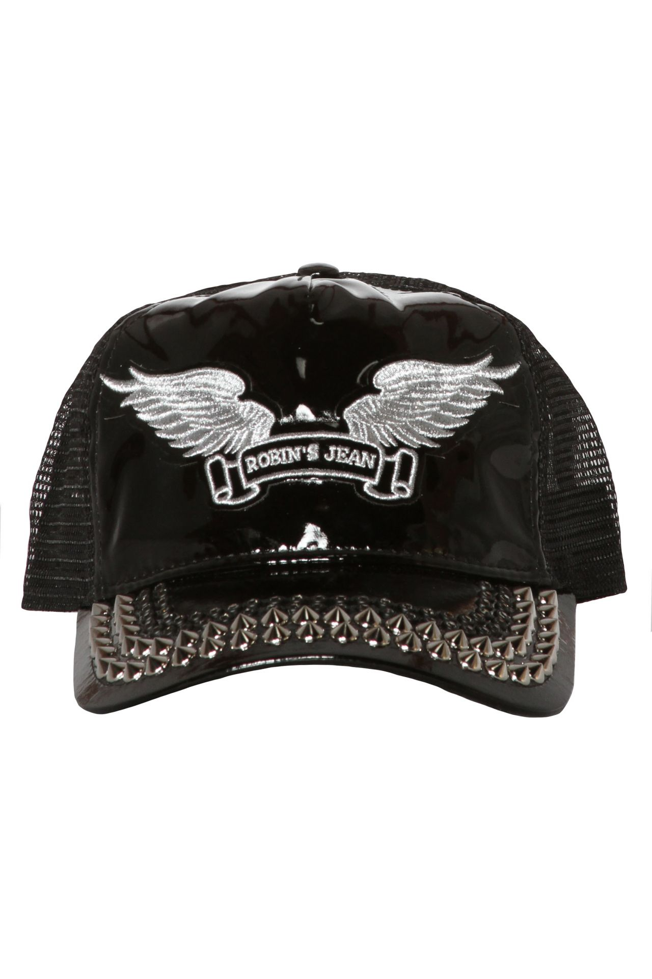 TRUCKER CAP IN PATENT BLACK WITH CRYSTALS