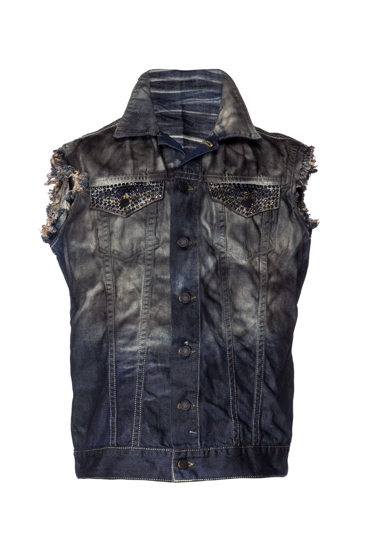 DENIM VEST WITH CRYSTALS IN TAR BLUE