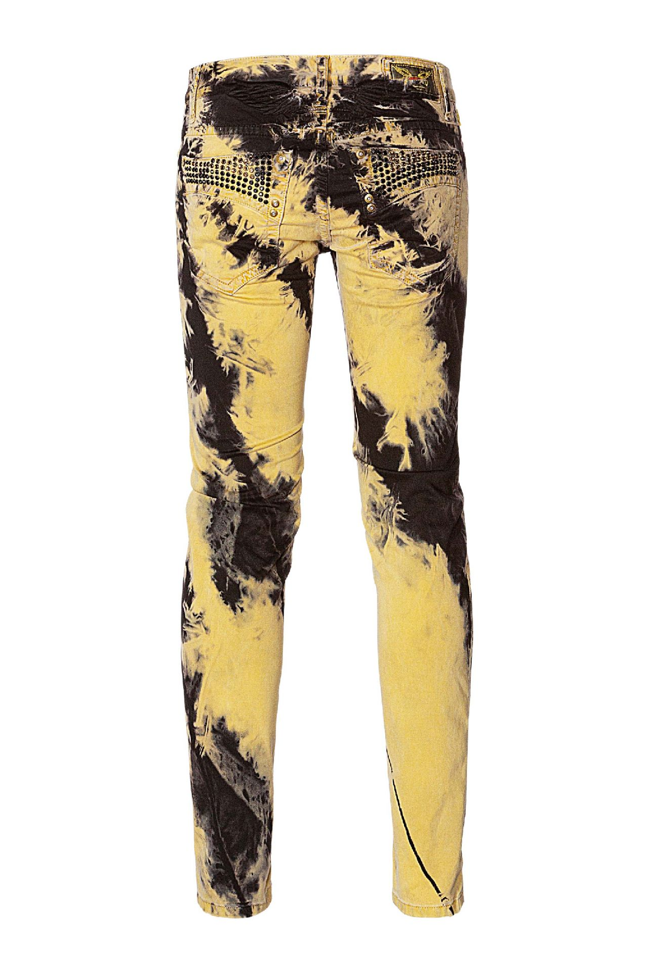SKINNY JEANS  IN TIE DYE YELLOW WITH CRYSTALS