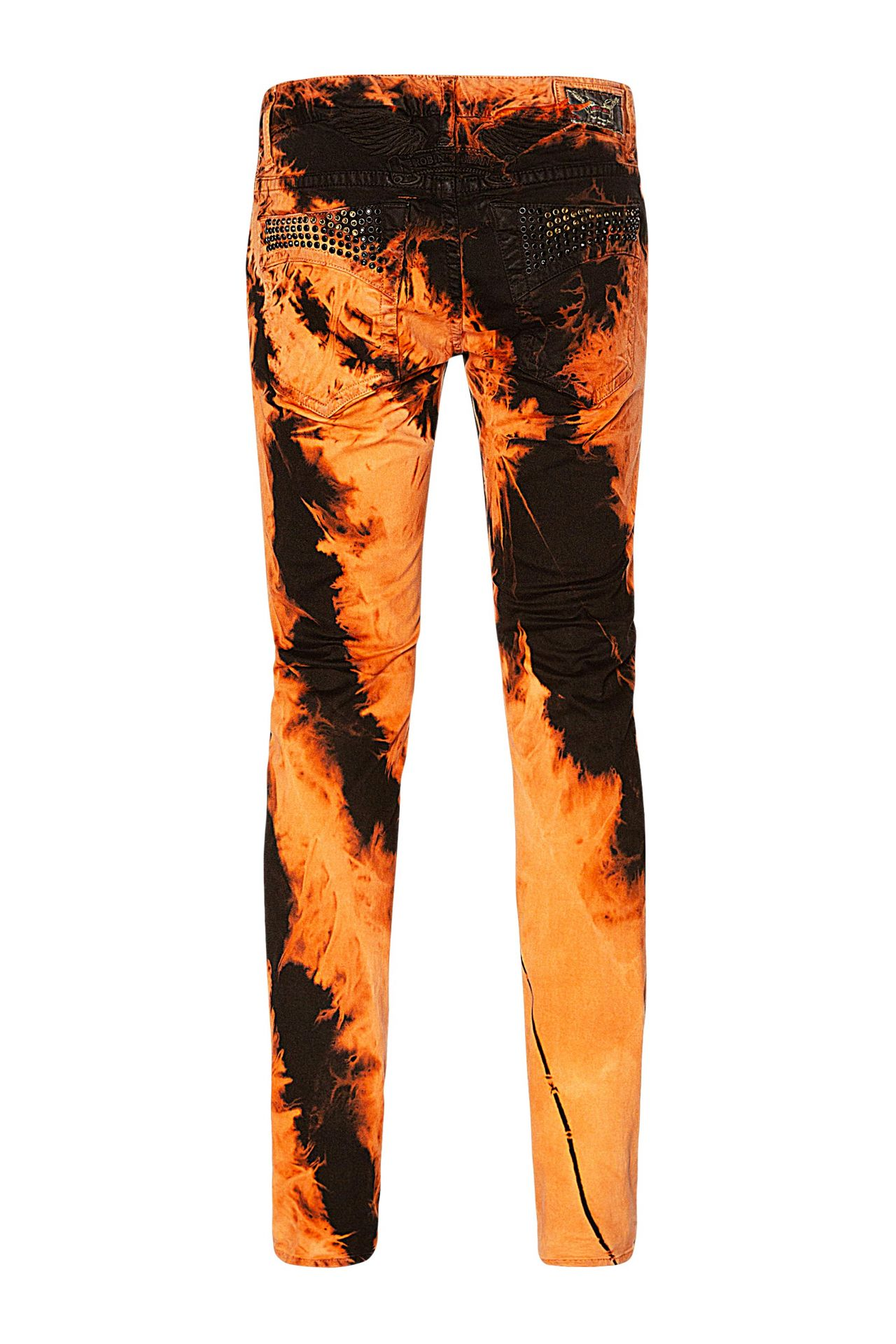 SKINNY JEANS IN TIE DYE ORANGE WITH CRYSTALS