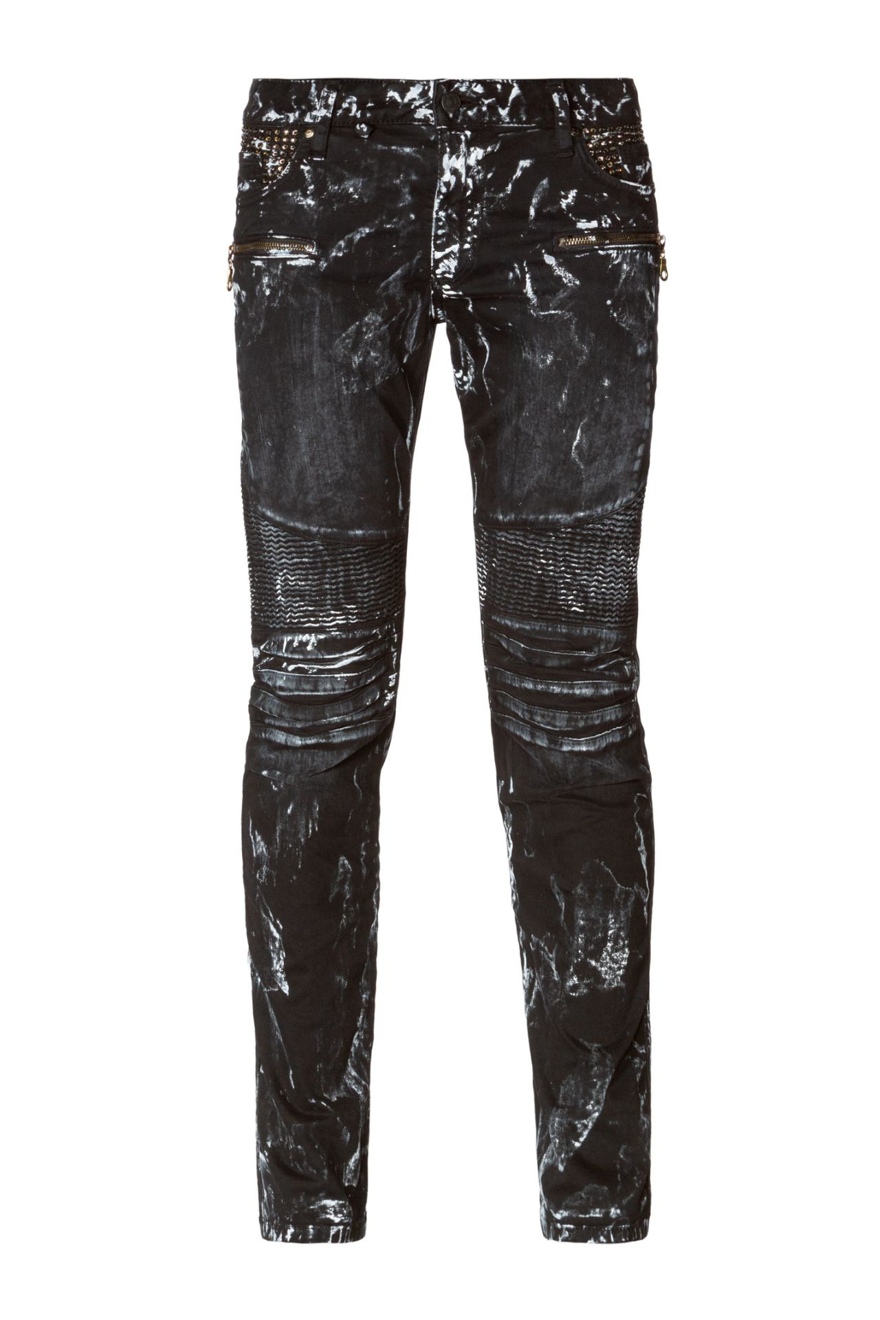 BIKER JEANS IN BLACK ICE WITH CRYSTALS
