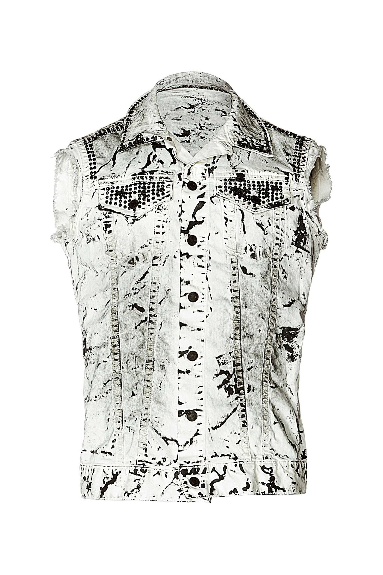 RAW EDGE VEST IN WHITE ICE WITH CRYSTALS