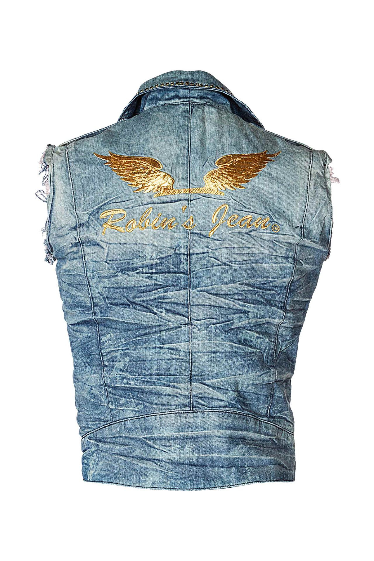 RAW EDGE BIKER VEST IN VINTAGE BLUE WITH CRYSTALS