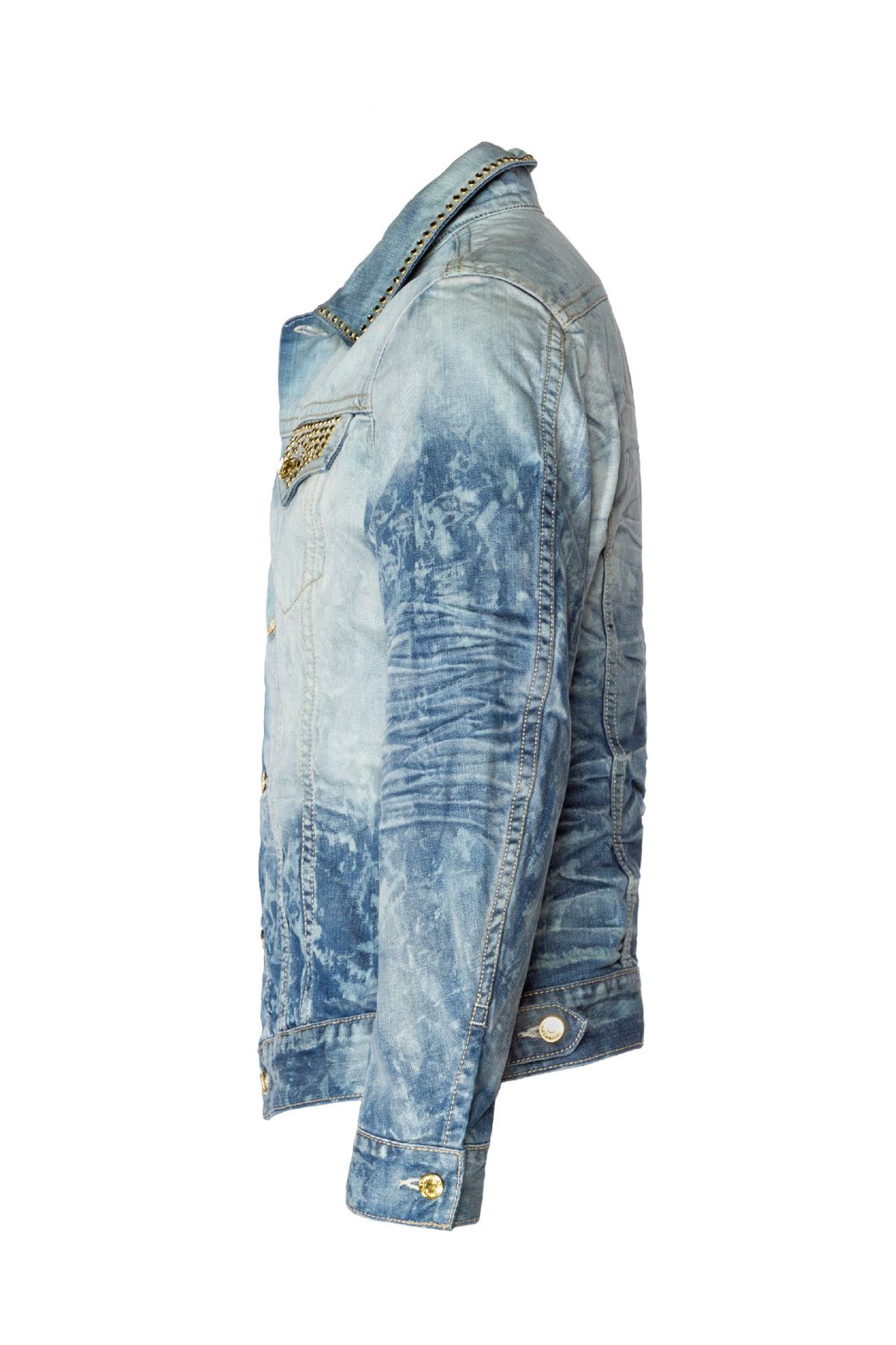DENIM JACKET IN VINTAGE BLUE WITH CRYSTALS